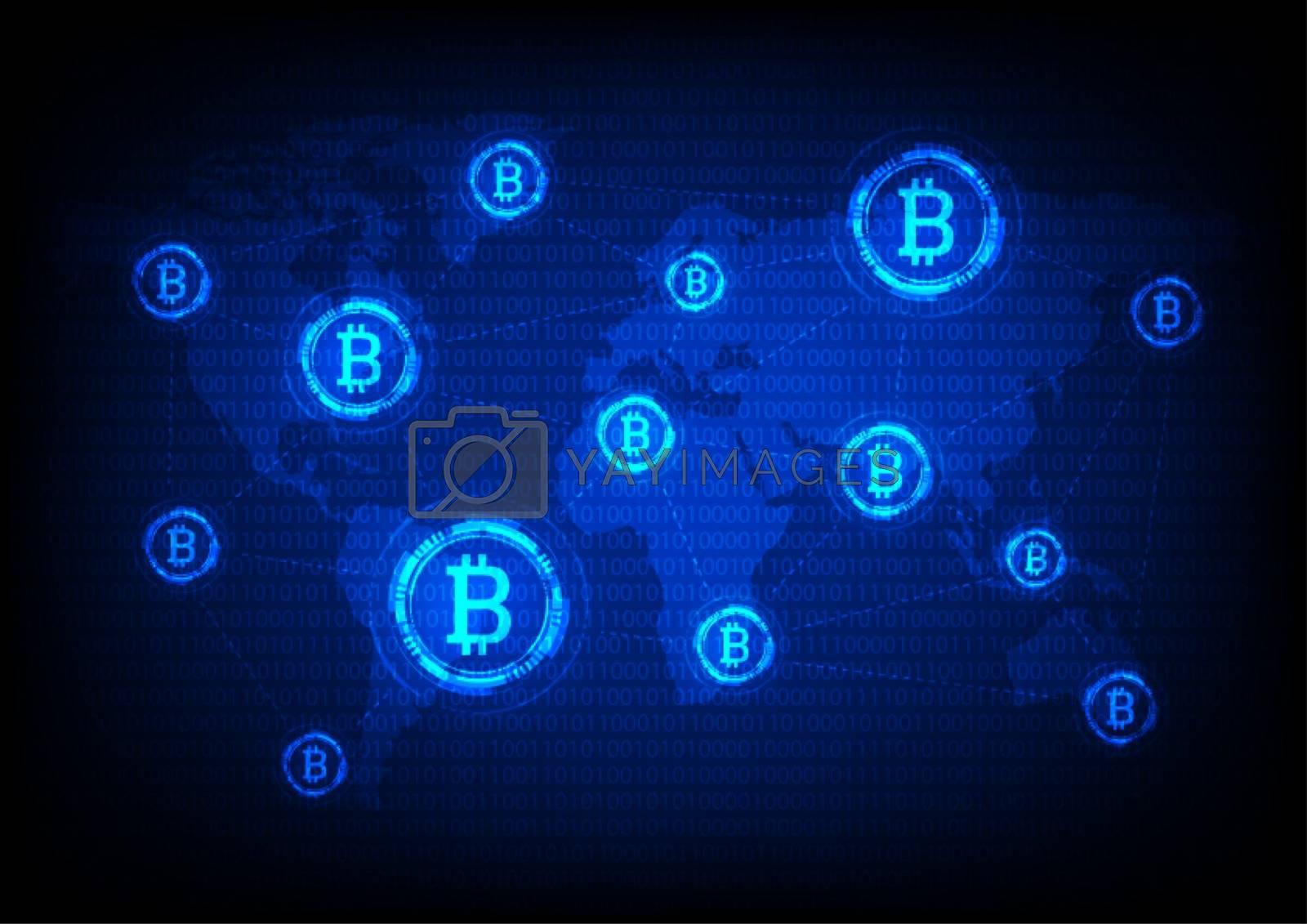 Global bitcoin crypto currency, blockchain Technology world map