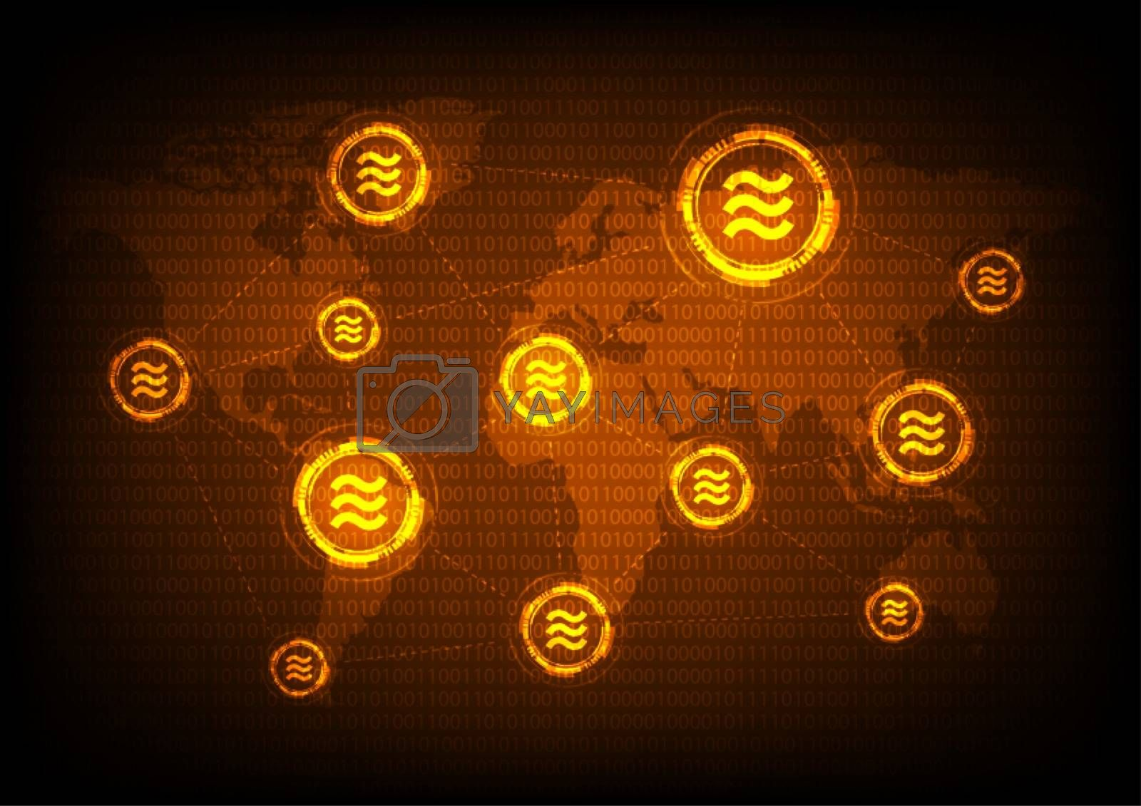 Global libra coin crypto currency, blockchain Technology world map
