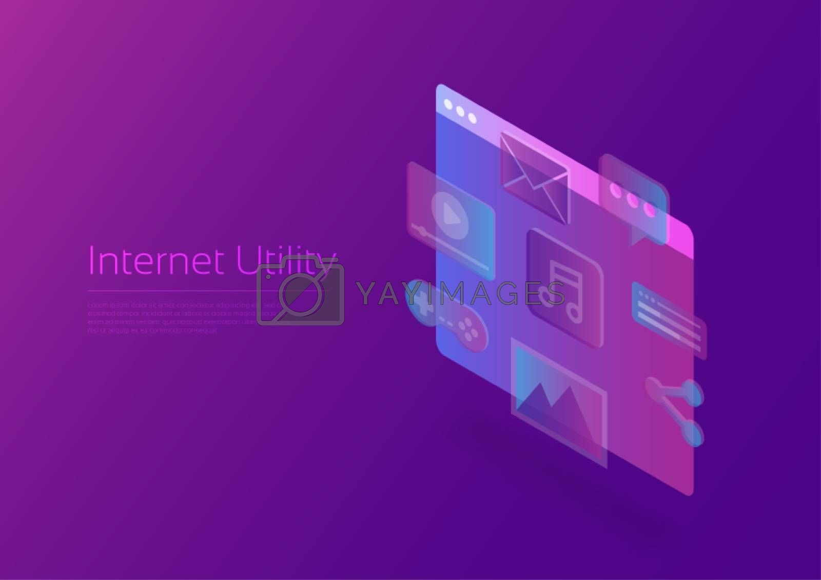 Internet utility, hologram icon with Isometric screen