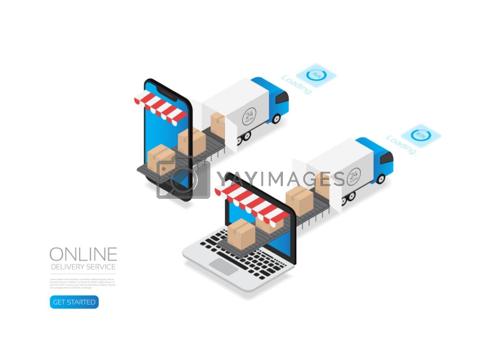 Isometric E-commerce, online delivery service