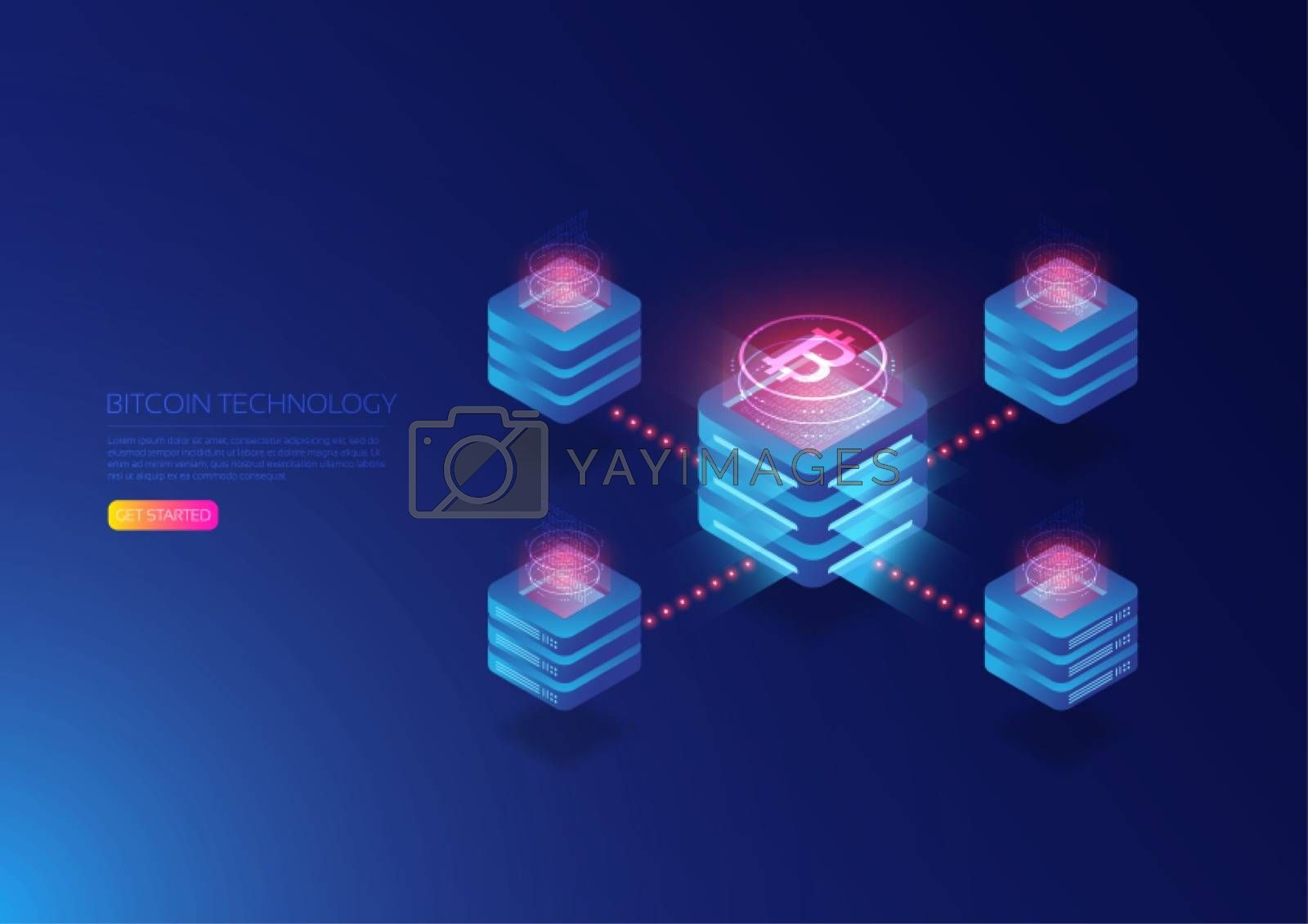 isometric cryptocurrency and blockchain,digital server