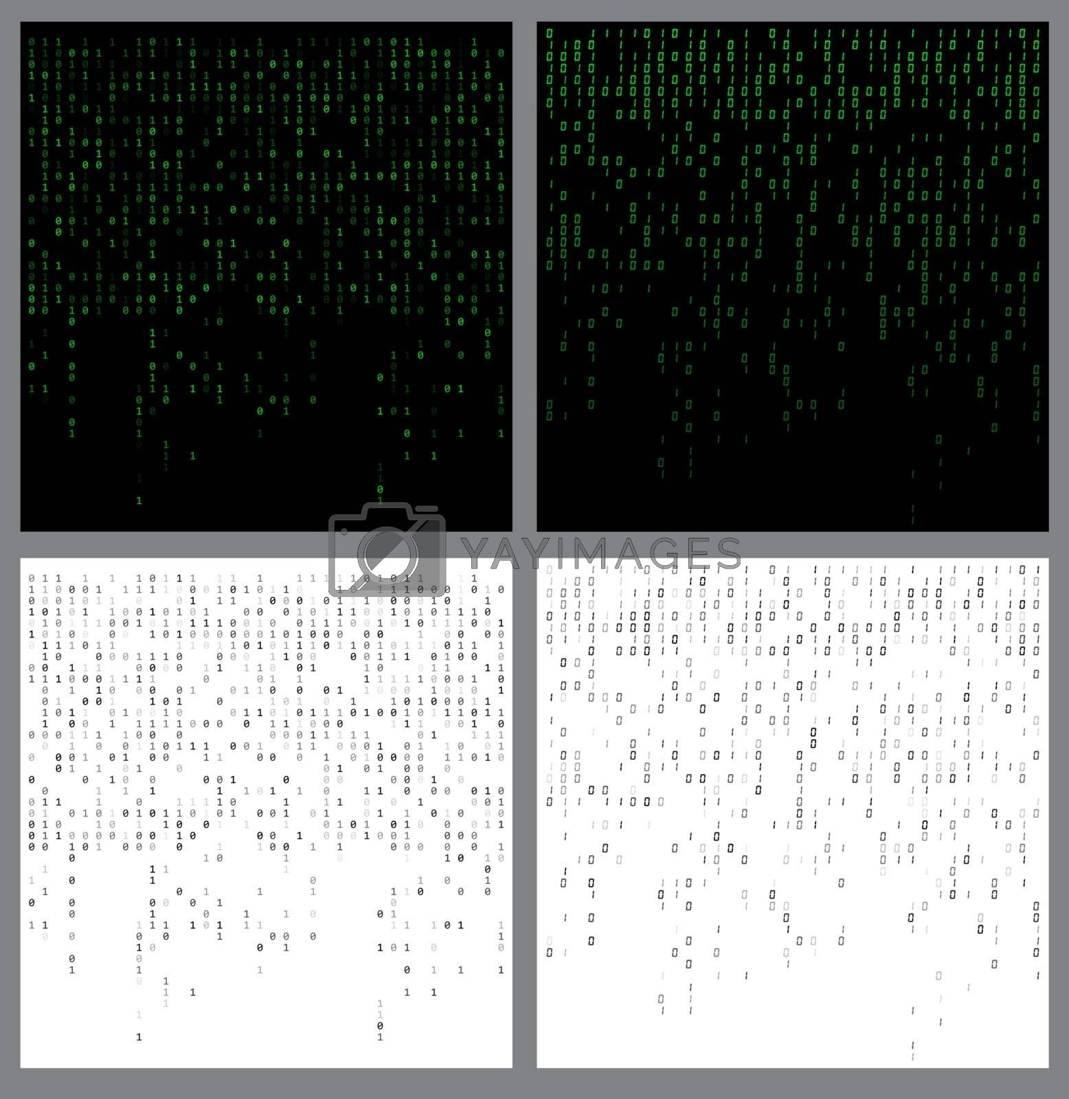 Binary code falling. Programming fading patterns set. Collection of zero one digits flowing down backgrounds. Futuristic technology backdrops with data script. Matrix effect. Conceptual numbers stream