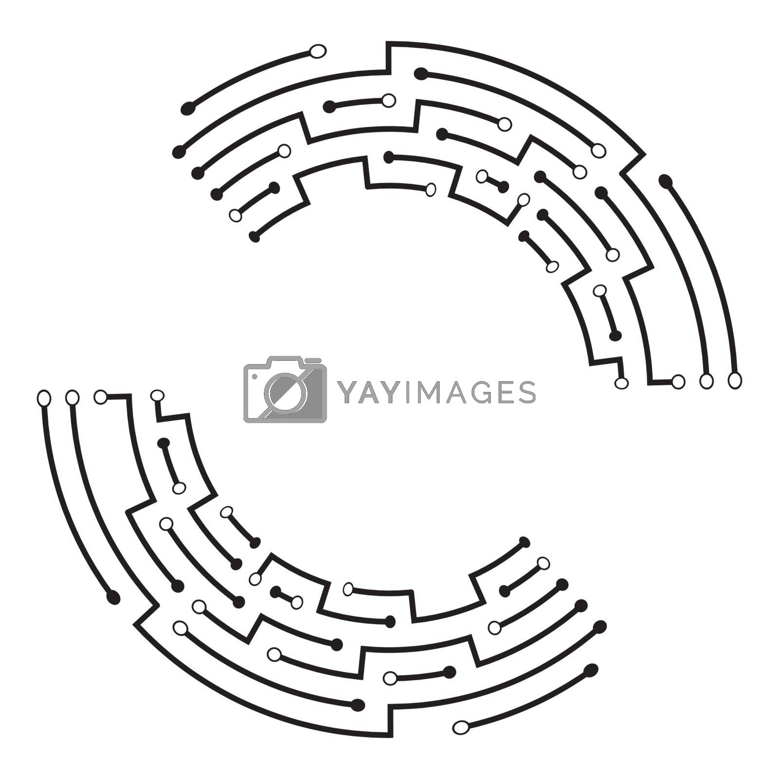 Abstract connection frame. Circular futuristic scheme. Structure of circuit board monochrome graphic. Motherboard technology ring. Mechanism of electronic communication device. Modern processor design