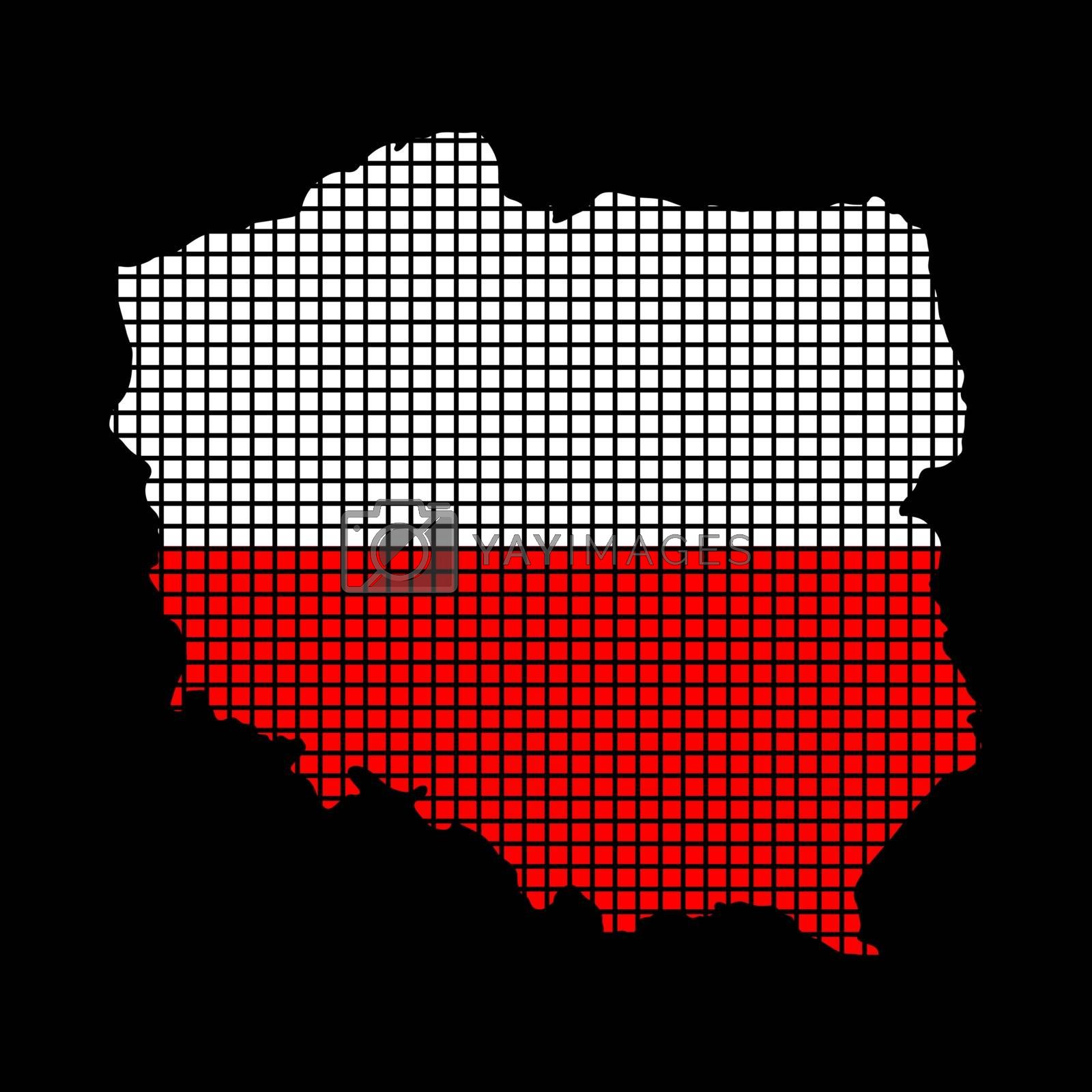 Polish flag on map made from squares, infographic isolated on black. Red and white patriotic colours of Poland. Halftone effect vector file. illustrated pixel mosaic composition for geography poster.