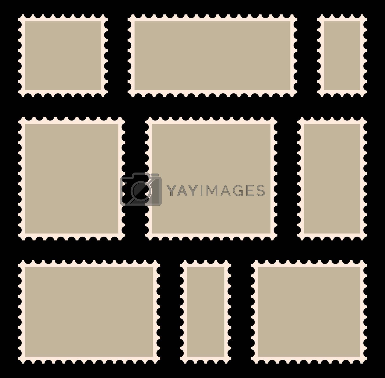 Postal stamp frame or border set with copyspace. Blank, beige postage marks collection. Retro letter label with perforated edge. Clipart illustration of empty envelope or postcard sticker template.