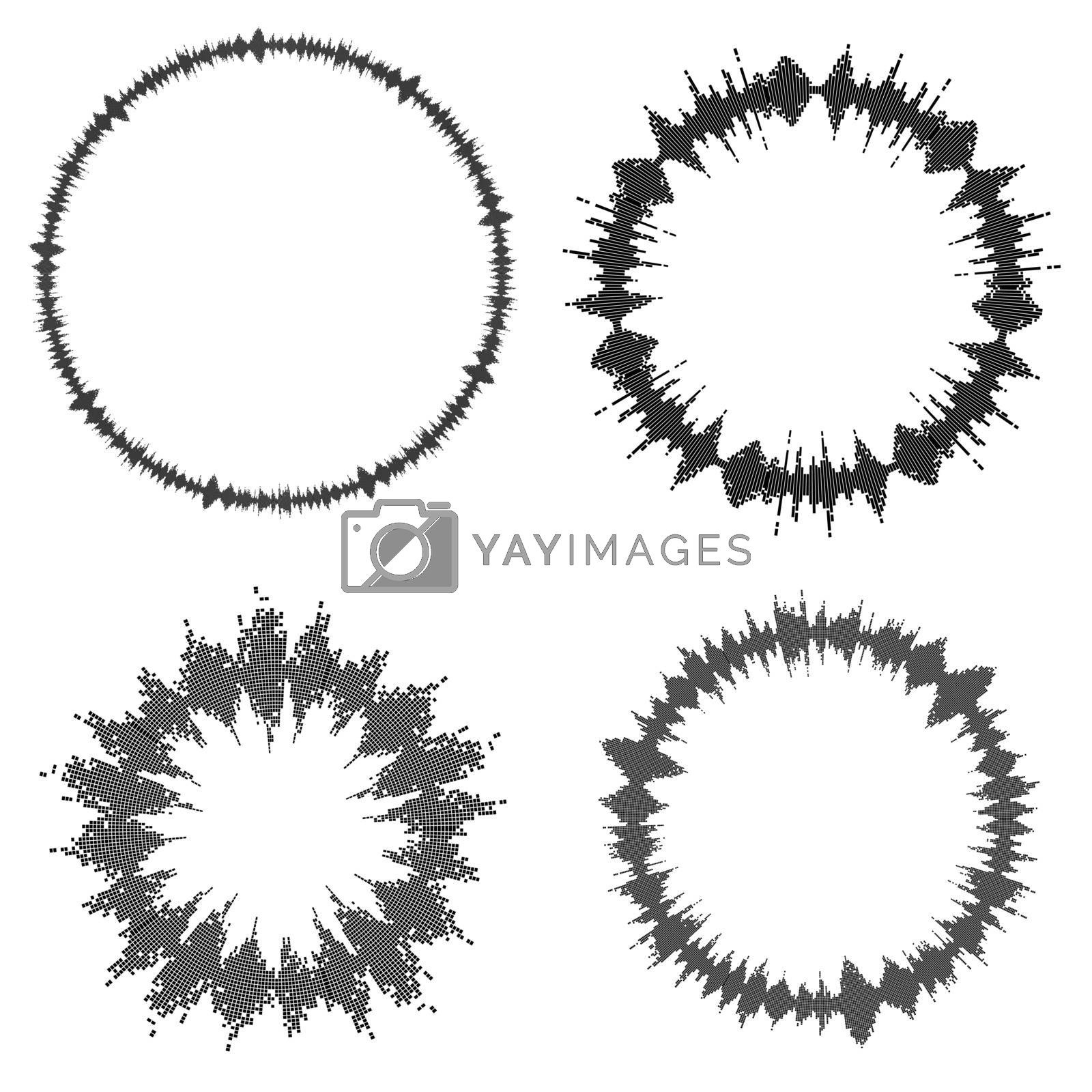 Equalizer ring. Round audio chart set. Music beat bar isolated on white. Collection of electronic abstract element of sound volume wave. Modern clip art illustration of speaker frequency range.