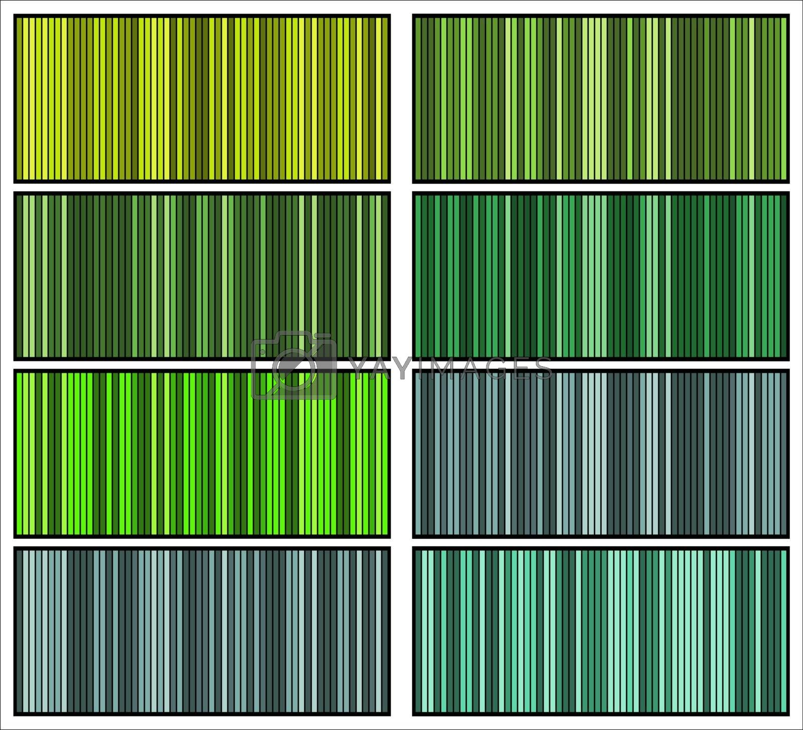 Stripes patterns collection. Green striped textured backgrounds. Template for prints, wrapping paper, fabrics, covers, flyers, banners, posters or placard. Modern vertical geometric grid.