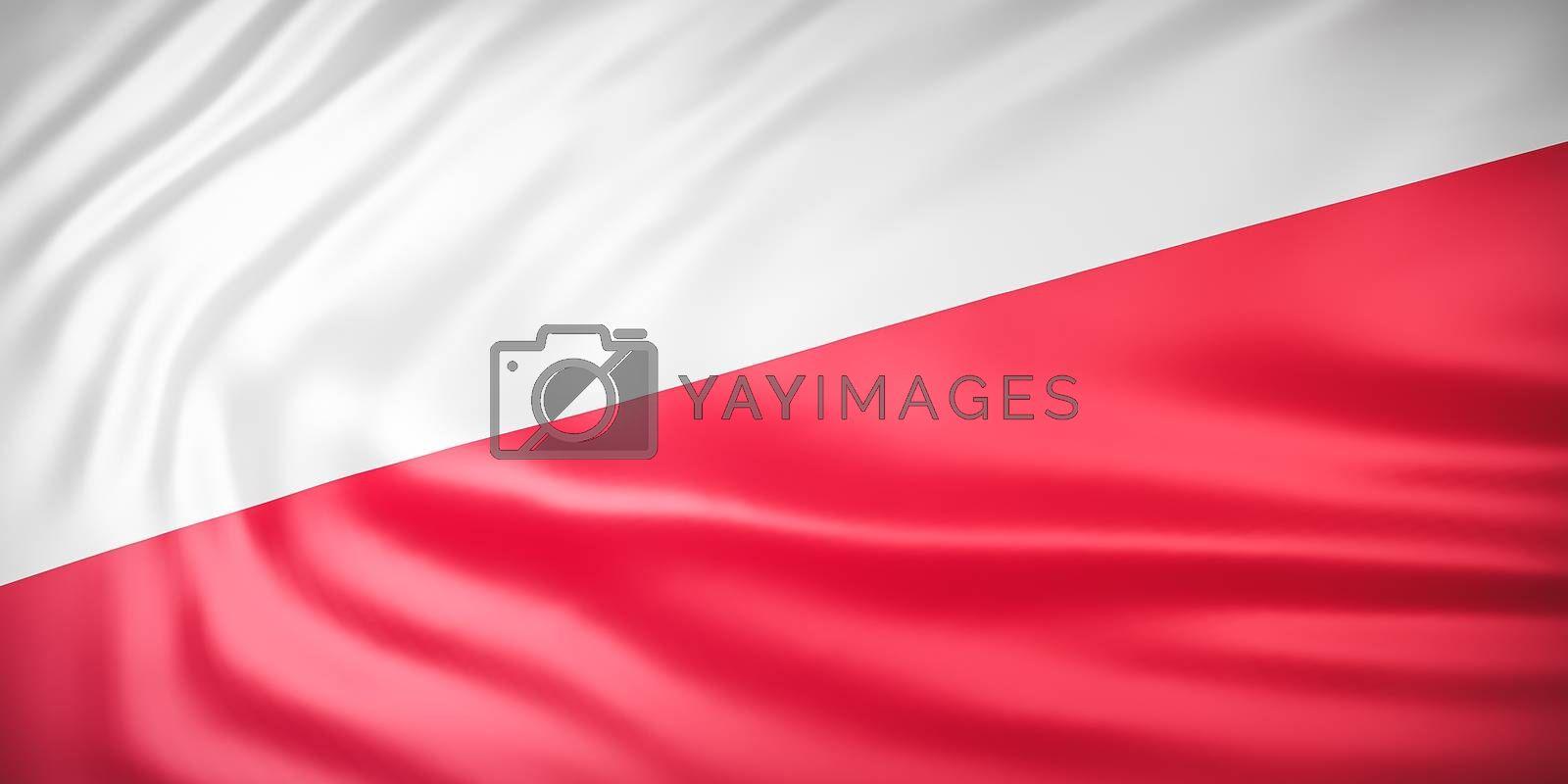 Beautiful Indonesia Flag Wave Close Up on banner background with copy space.,3d model and illustration.