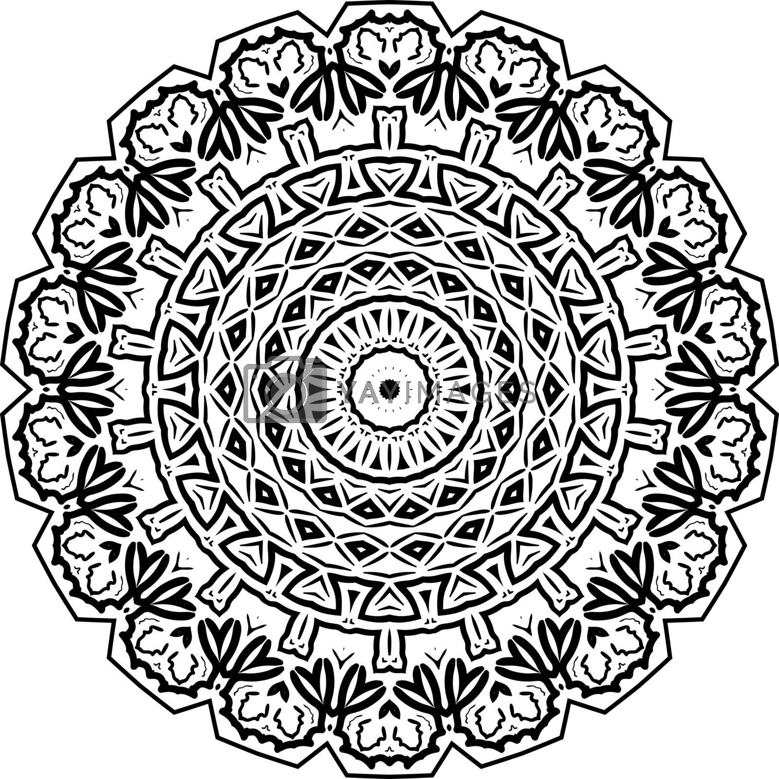 Mandala. Zentangle inspired vector illustration, black and white. Abstract diwali texture