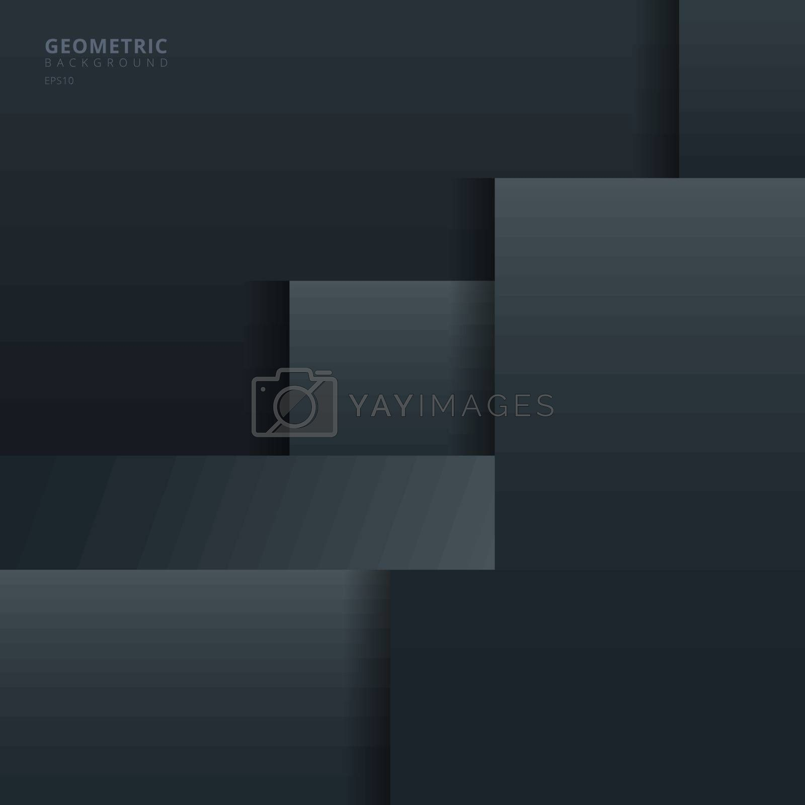 Abstract background black and gray geometric square overlapping with shadow paper style. Vector illustration
