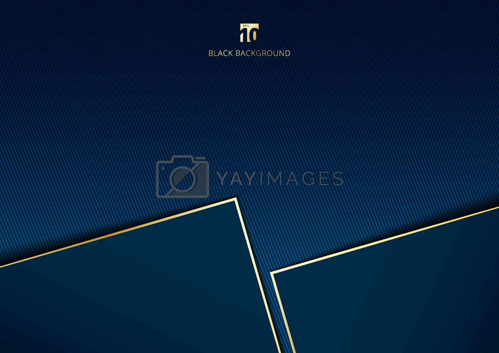 Abstract template geometric with golden border and lighting effect dark blue background space for your text. Luxury style. Vector illustration