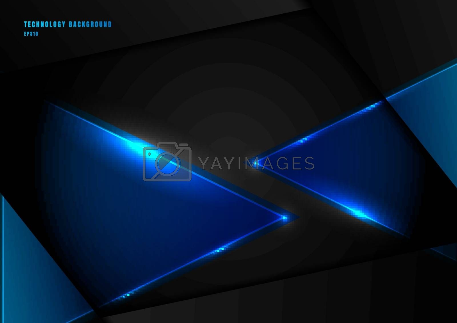 Abstract blue triangles with lighting laser on black background with space for your text. Technology concept. Vector illustration
