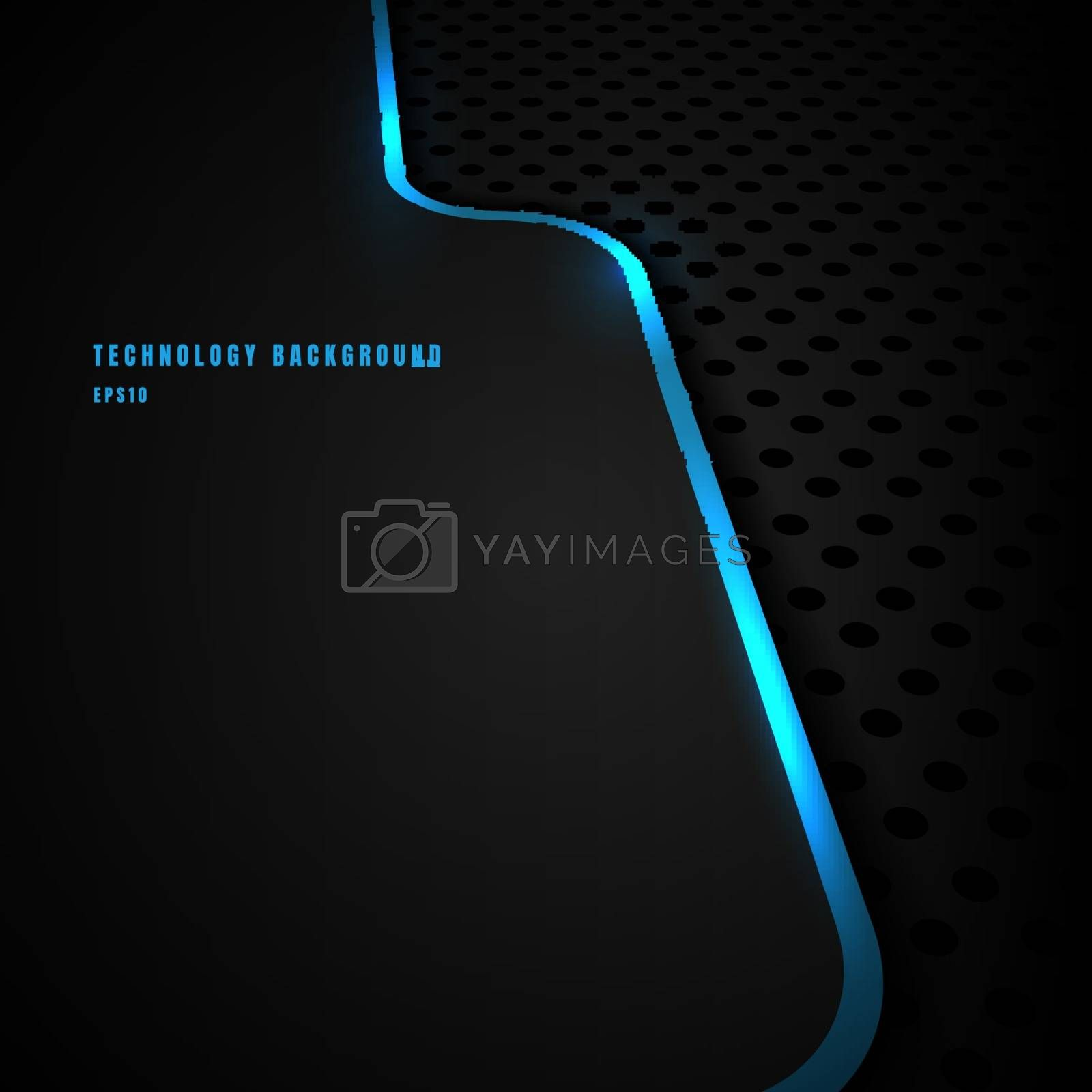 Abstract template blue vertical line and lighting separate perspective on black background and texture. Technology concept. You can use for corporate cover brochure design, poster, banner web, print ad, etc. Vector illustration
