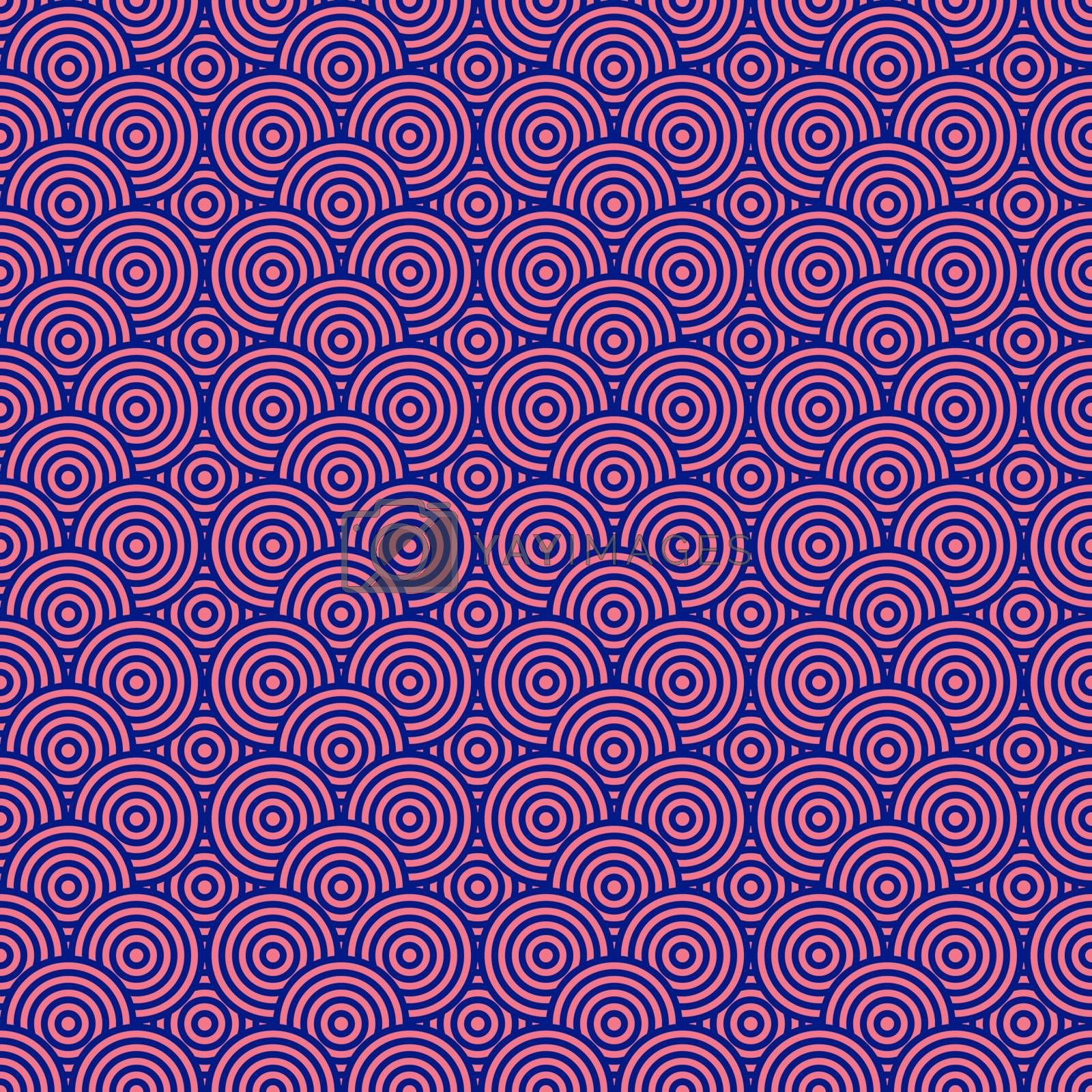 Pink and blue circles seamless pattern background and texture. Vector illustration