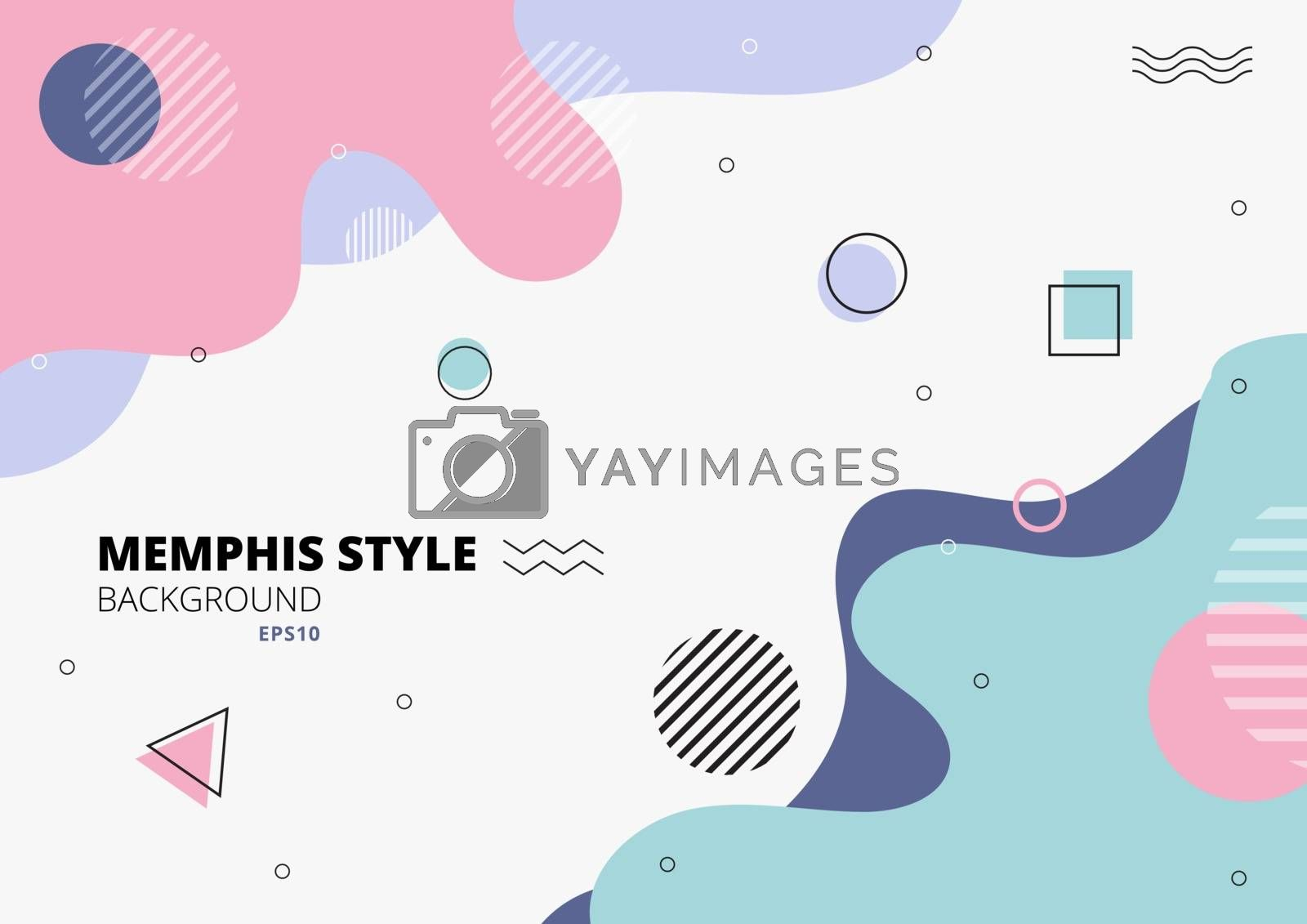 Abstract freeform shape geometric pastel color on white background memphis style. Vector illustration