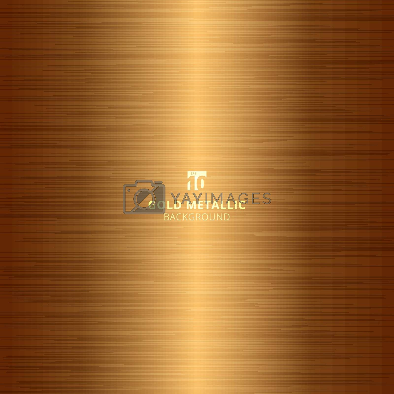 Gold metallic metal polished background and texture. Vector illustration