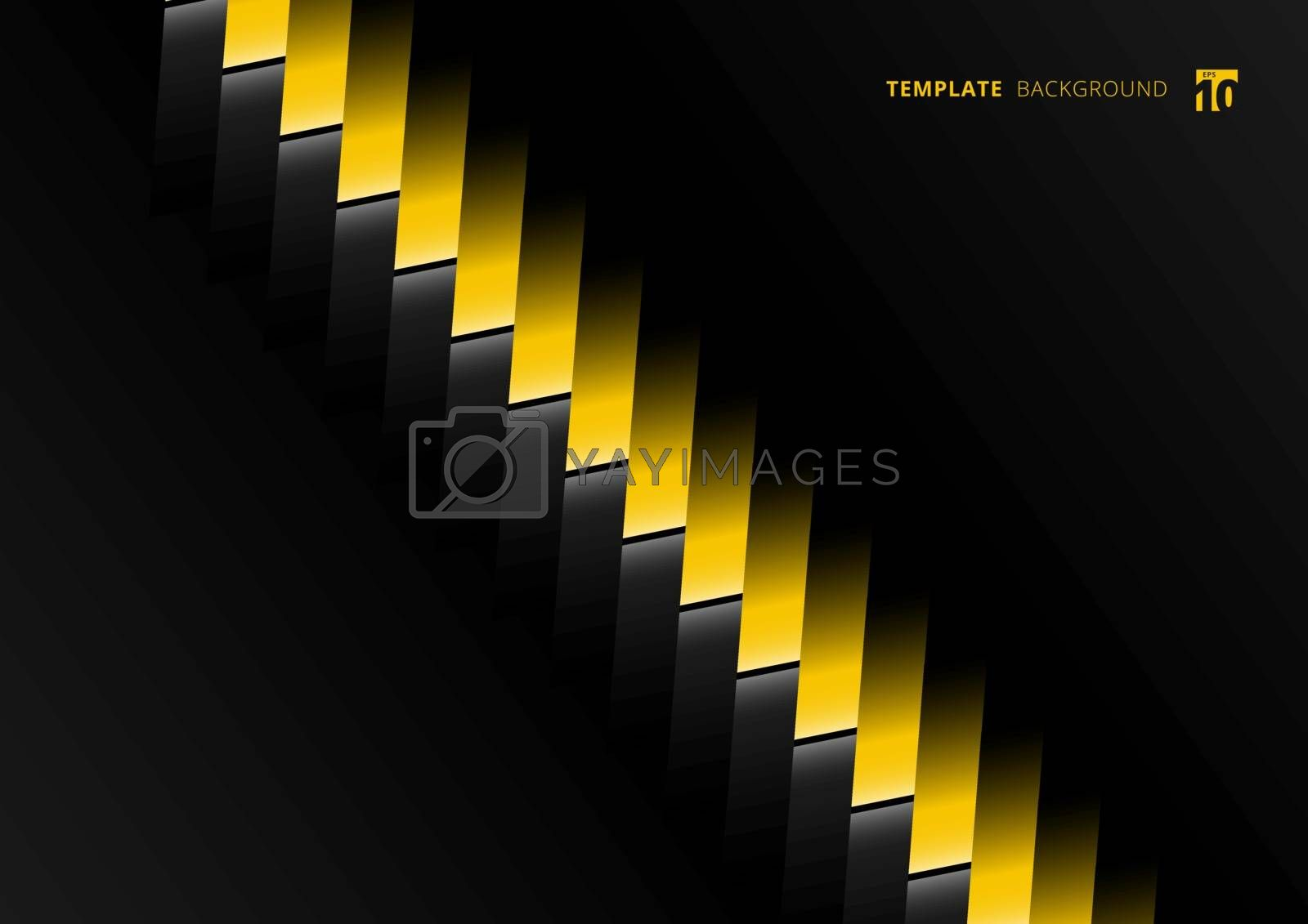 Abstract technology template geometric separate contrast yellow rectangle diagonal on black background. Vector illustration