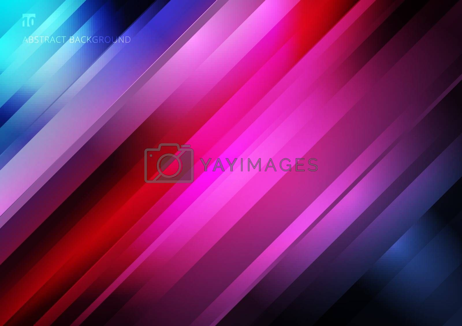 Abstract striped diagonal geometric lines pattern technology on colorful gradients background. Vector illustration