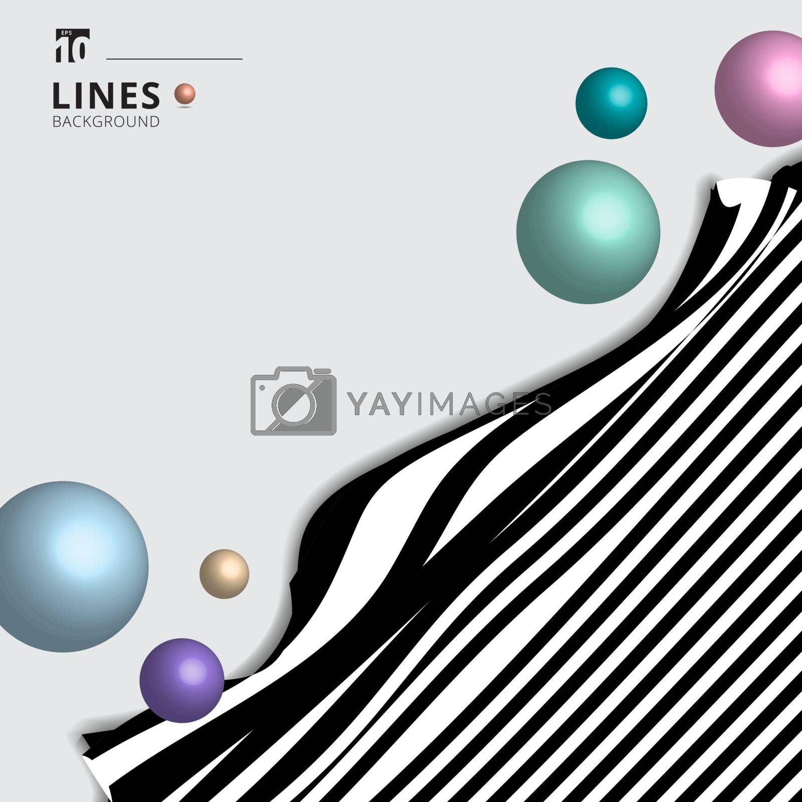 Abstract striped black and white curved line stripe wave background with 3D circles spheres glossy pastel color. Vector illustration