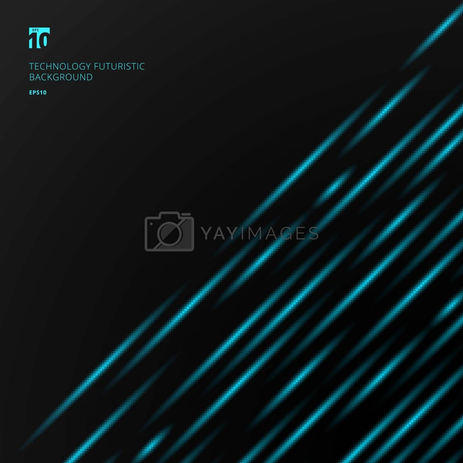 Abstract technology futuristic concept blue laser light pattern diagonal stripes on black background with space for your text. Vector illustration
