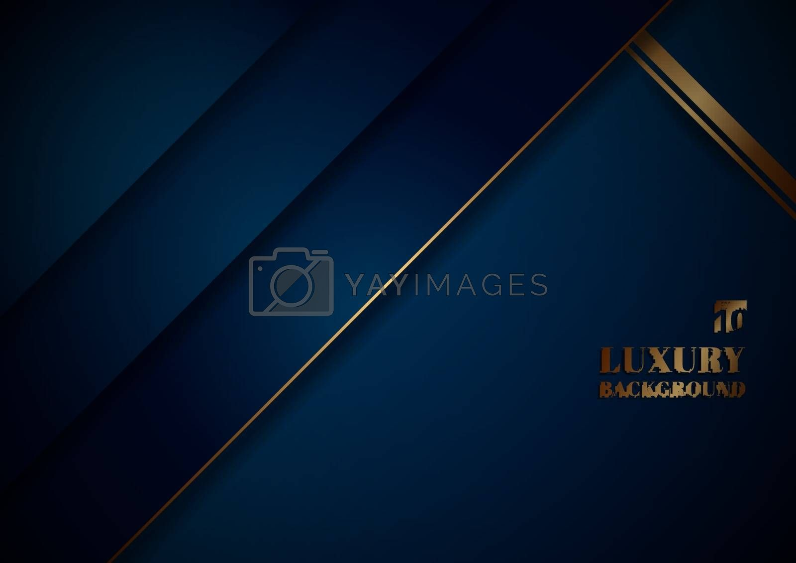 Abstract template blue geometric diagonal with golden border on black background space for your text. Luxury style. Vector illustration