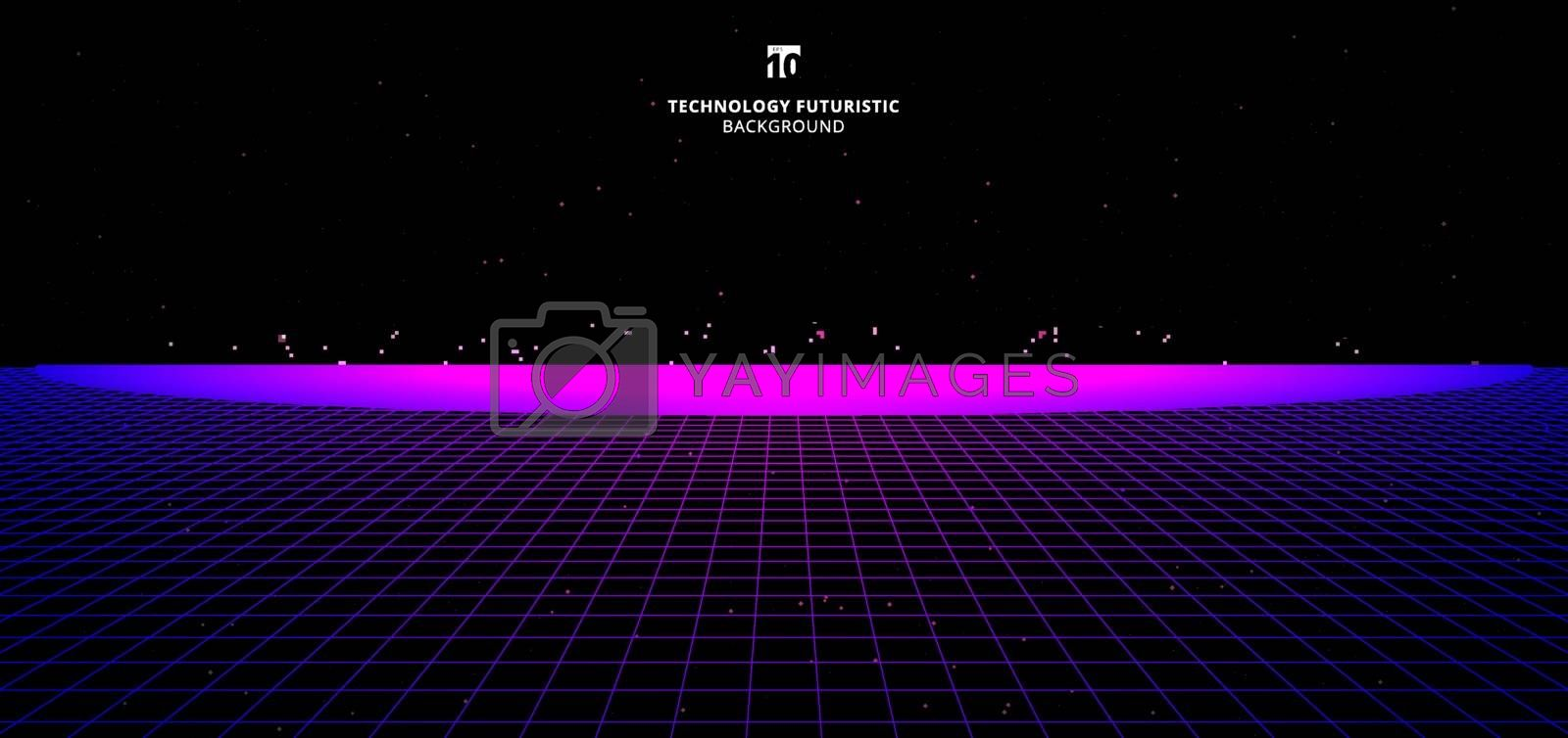 Abstract technology futuristic concept blue and pink grid perspective on black background and lighting, particles with space for your text. Banner web retro style. Vector illustration