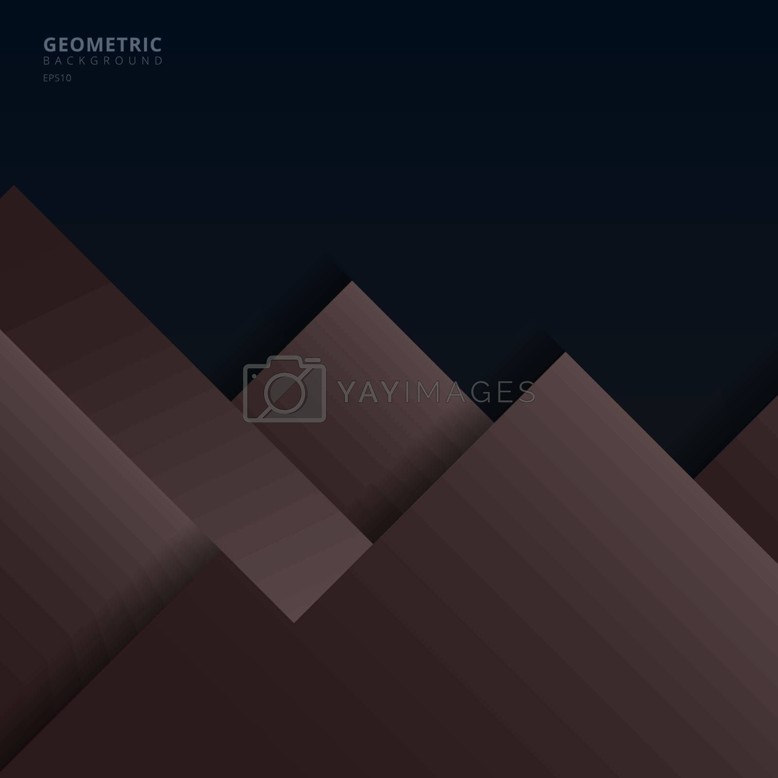Abstract background brown and dark blue geometric square overlapping with shadow paper style. Vector illustration