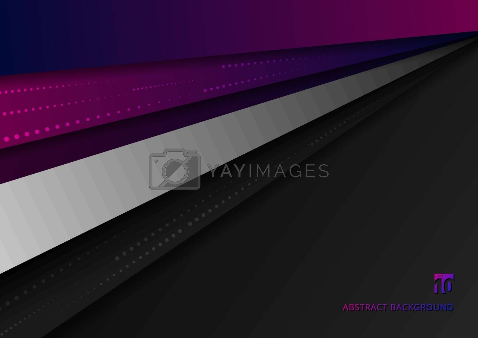Abstract pink and blue geometric overlapping dimension layers on black background. dots halftone elements texture decoration. Vector illustration