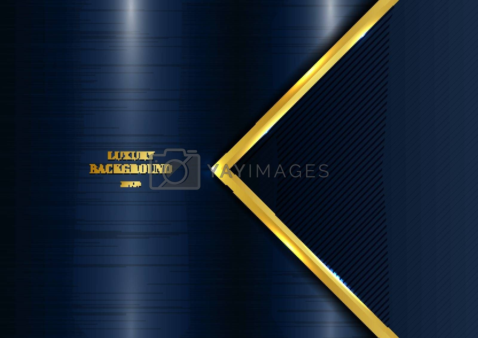 Abstract template geometric with golden border and lighting effect blue metallic background space for your text. Luxury style. Vector illustration