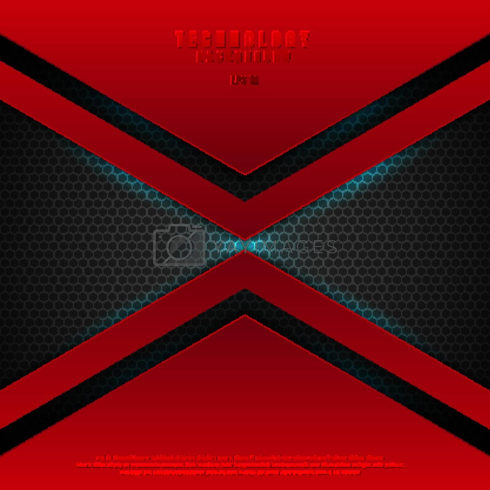 Abstract technology futuristic red geometric triangle on black background with blue lighting effect. Vector illustration