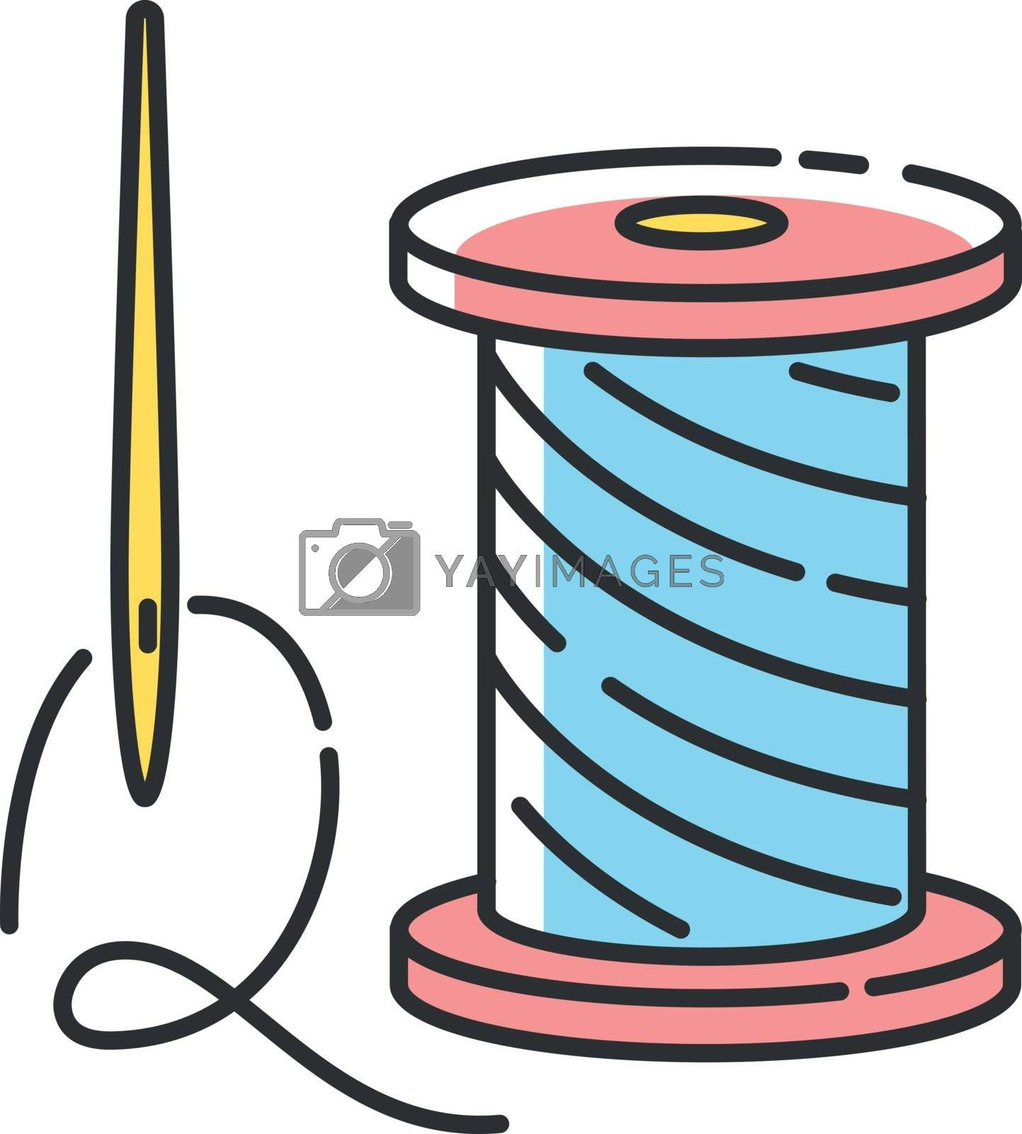 Repairing clothing RGB color icon. Sewing studio, professional needlework, atelier. Zero waste lifestyle advice. Needle and thread isolated vector illustration
