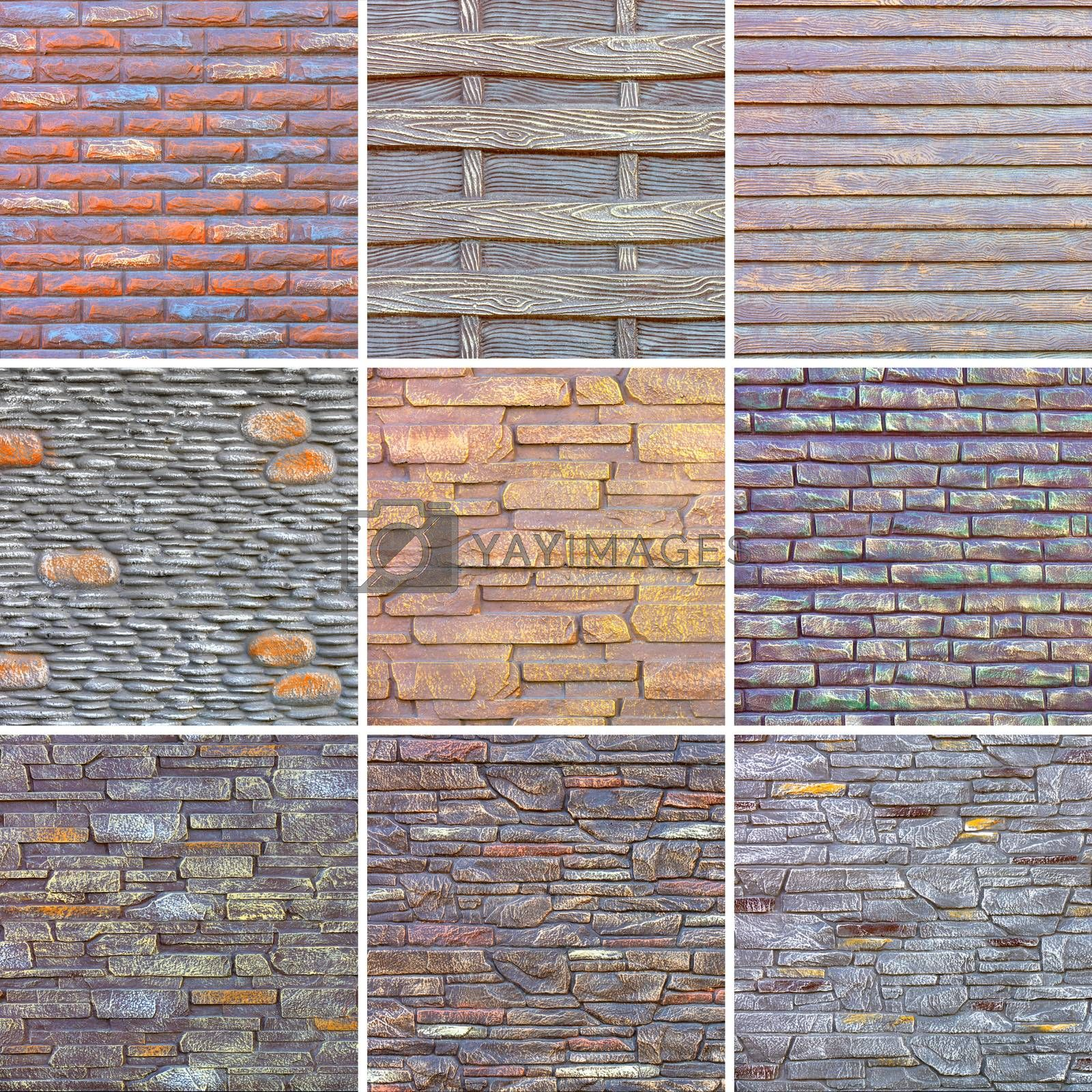 Collage of various stone textures made of concrete. High resolution textures.