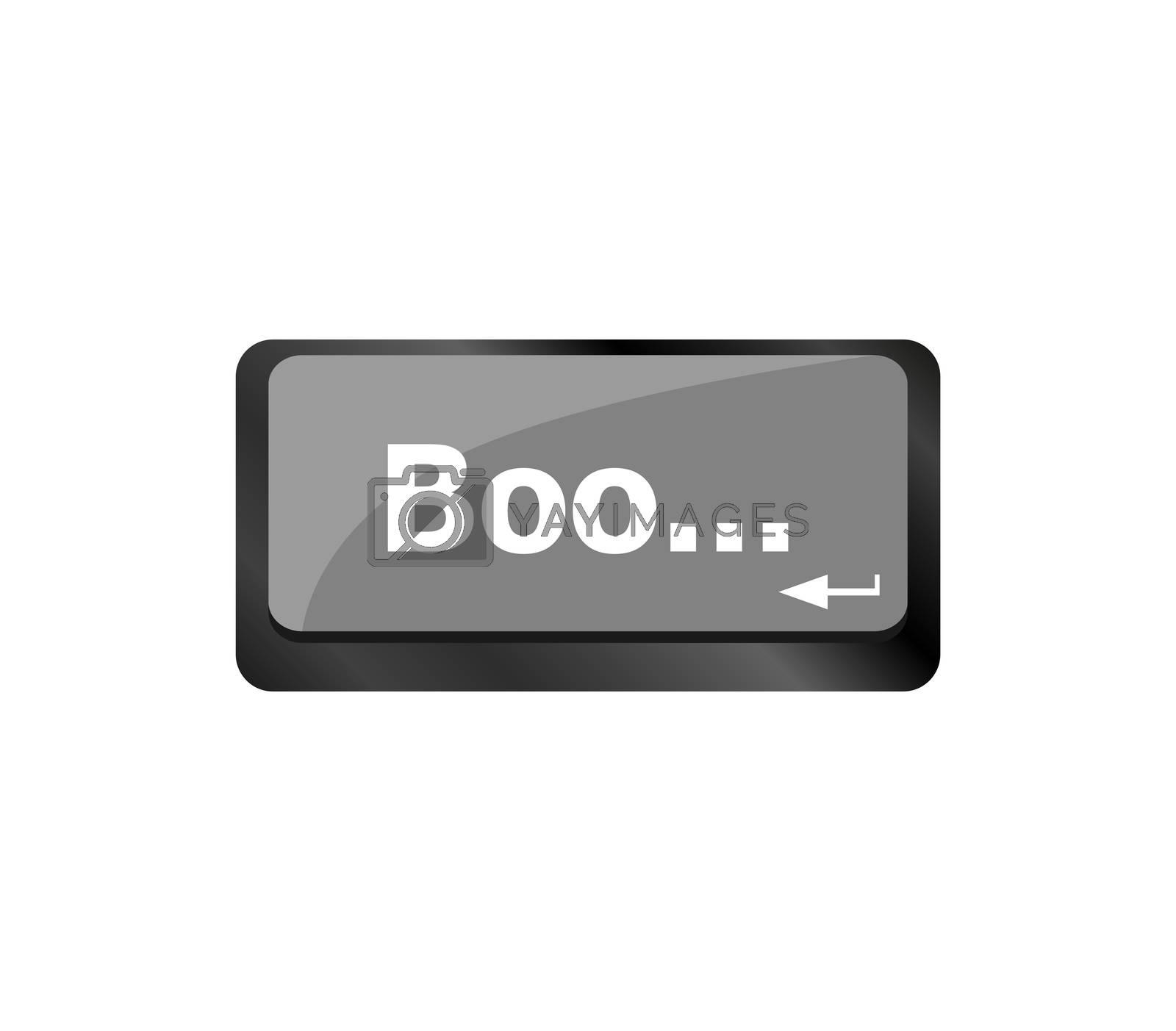 boo word on computer enter keyboard keys
