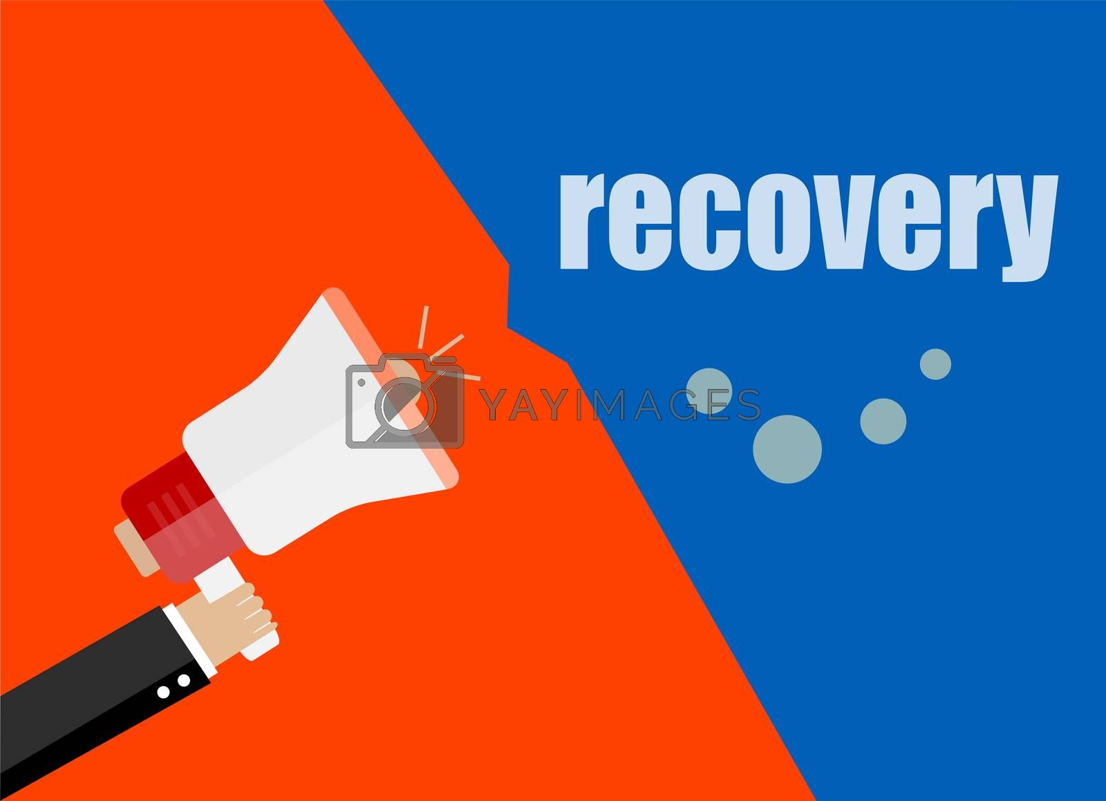 Recovery. Flat design business concept Digital marketing business man holding megaphone for website and promotion banners