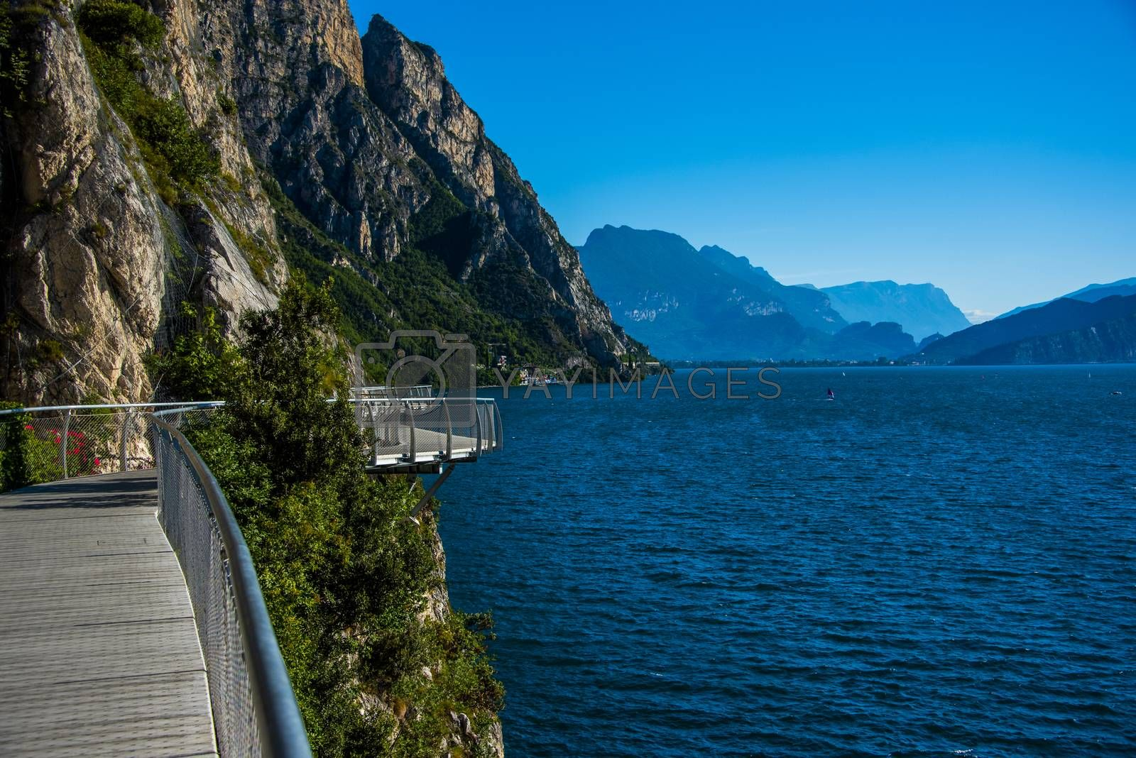 suspended walkway on Lake Garda at Limone sul Garda, Brescia Italy