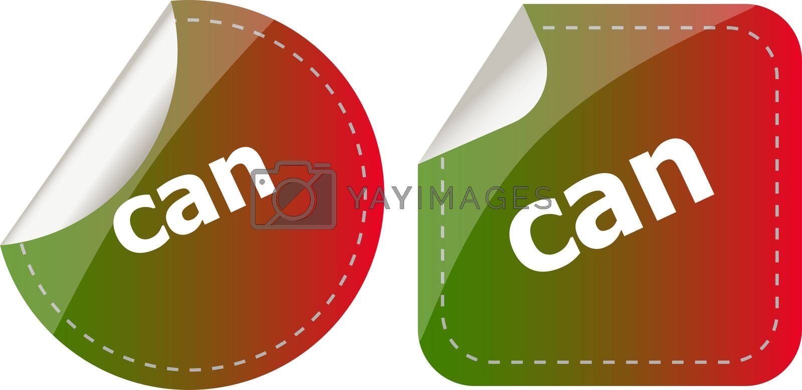 can word stickers set, web icon button