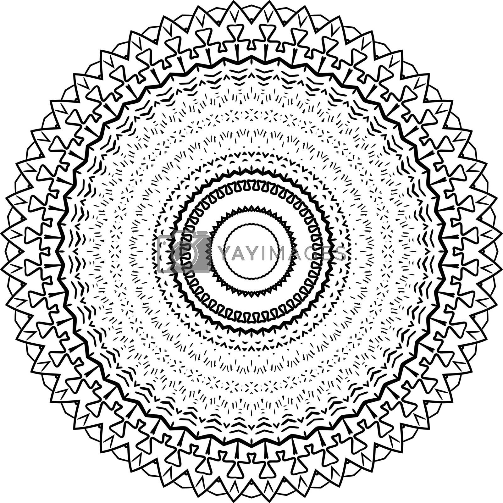 Mandala Circle Pattern Isolated on White. Abstract pattern vector illustration. Retro black and white texture