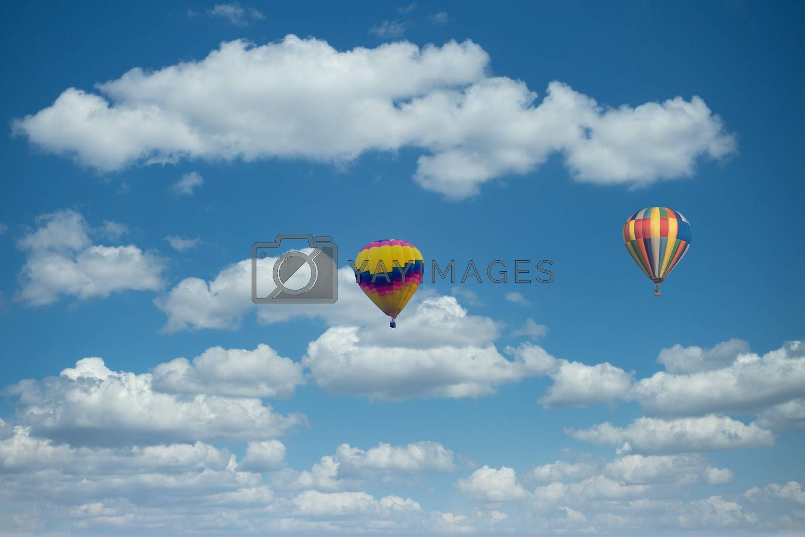 Colorful hot air balloon floating in a nice sky