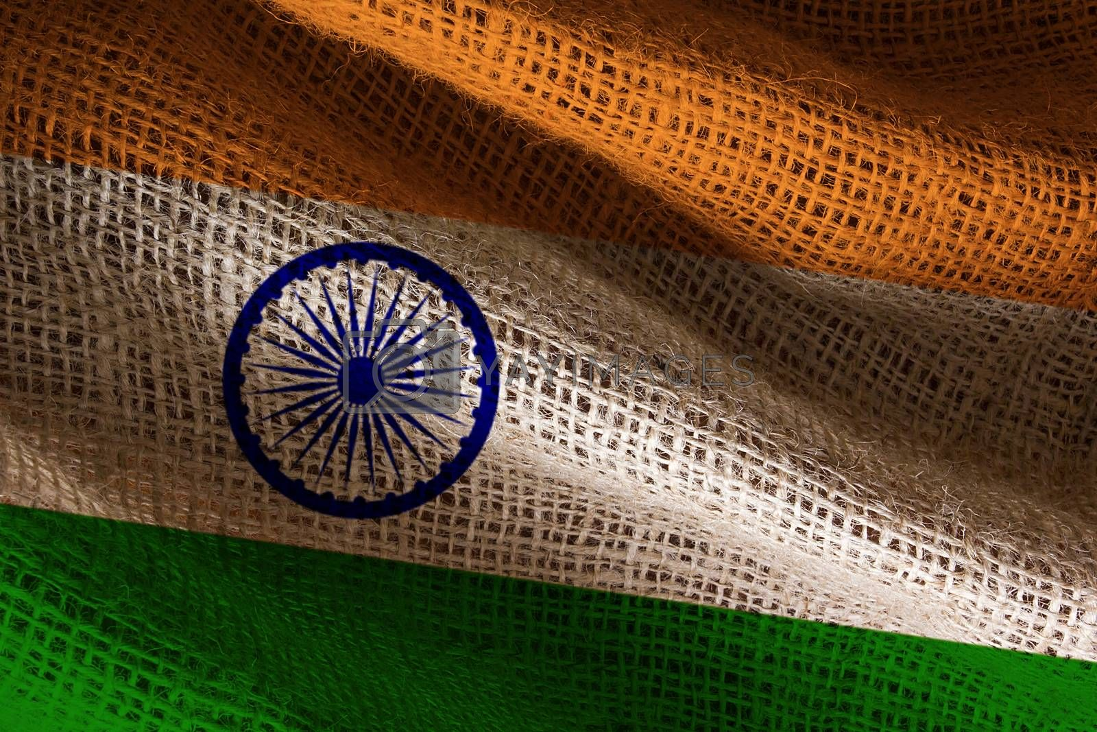 Close-up photograph of the flag of India