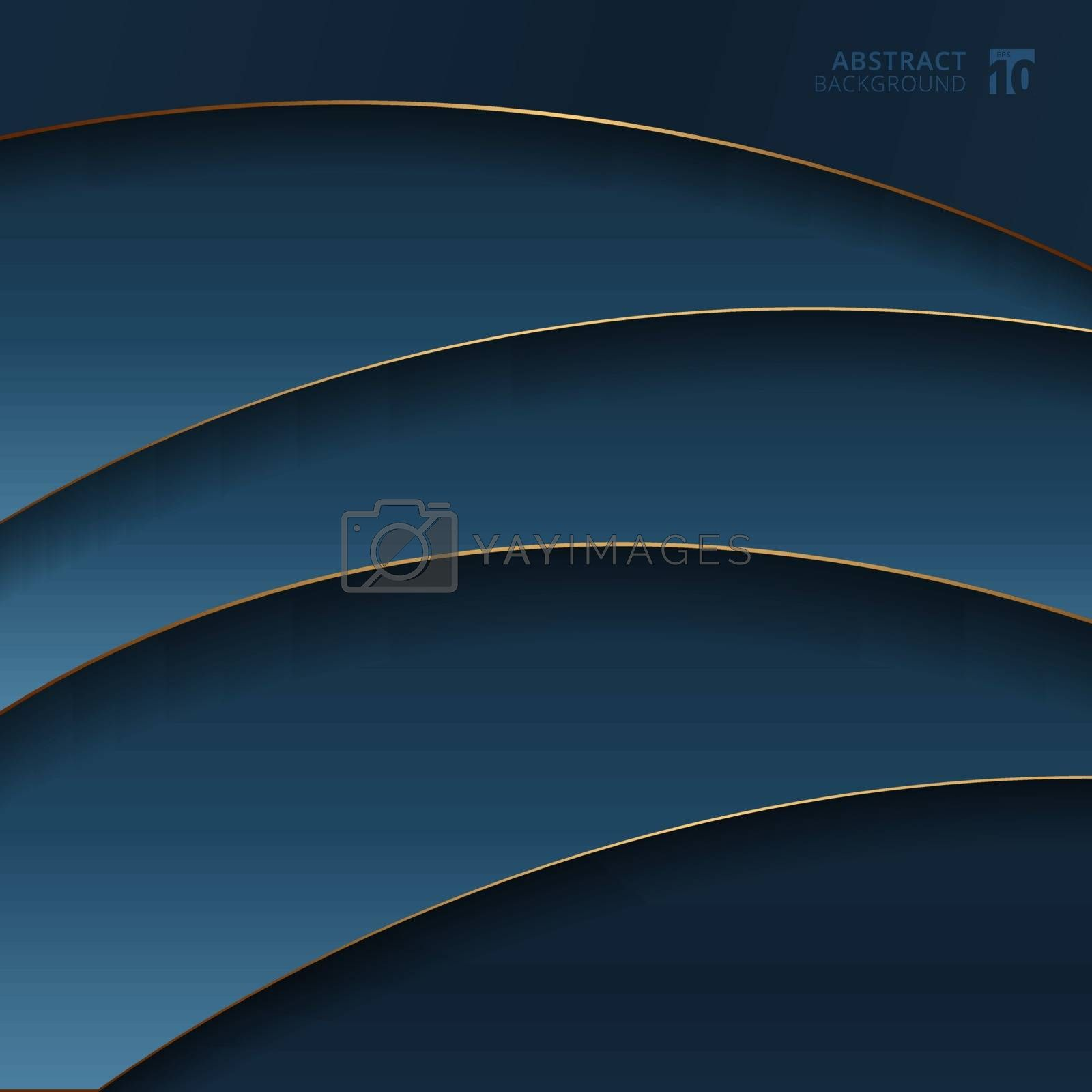 Abstract gold curve stripes line layers on dark blue gradient background. Luxury style. Vector illustration