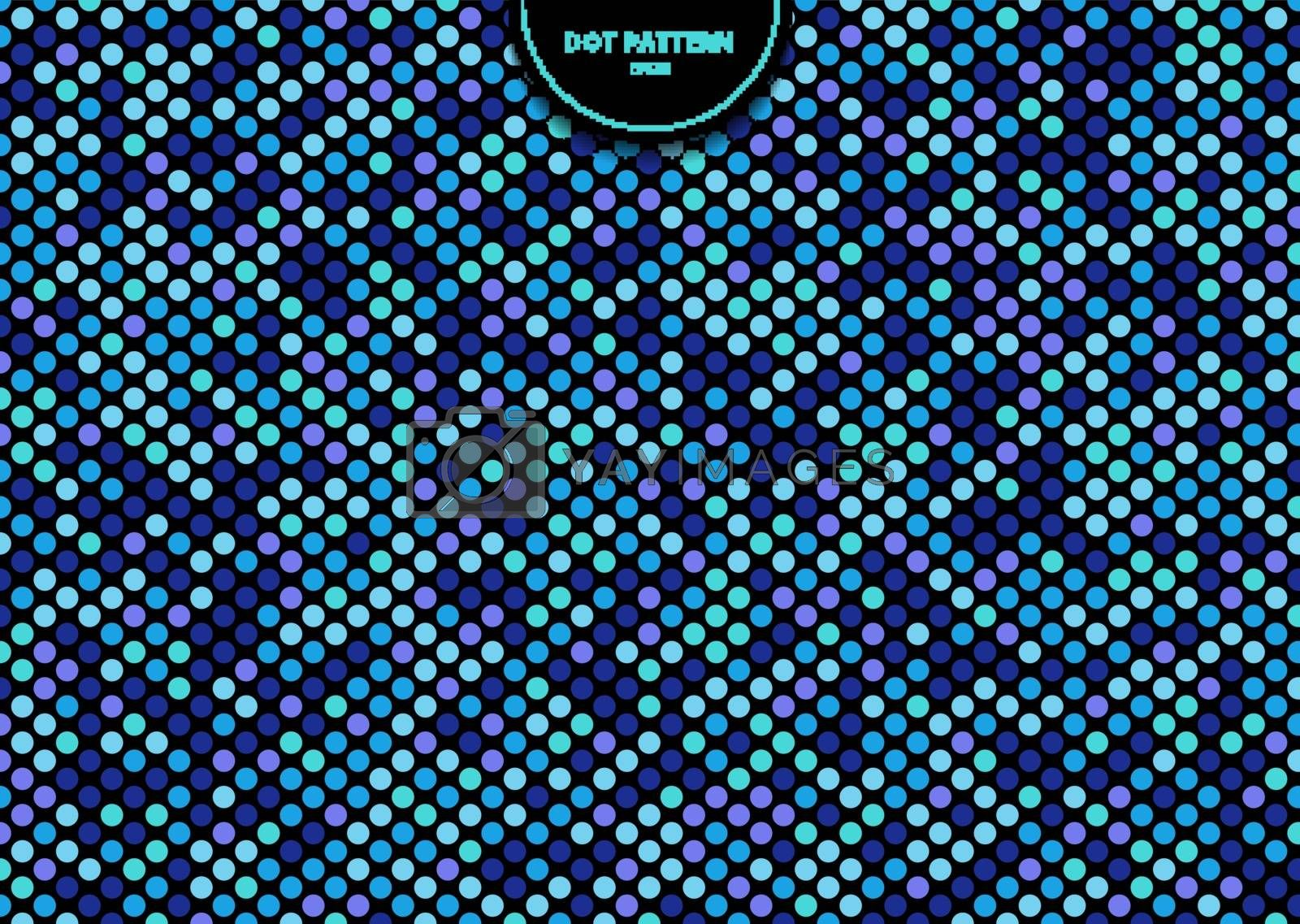 Abstract seamless dots pattern blue color on black background. Polka dot stripe graphic design. Vector illustration