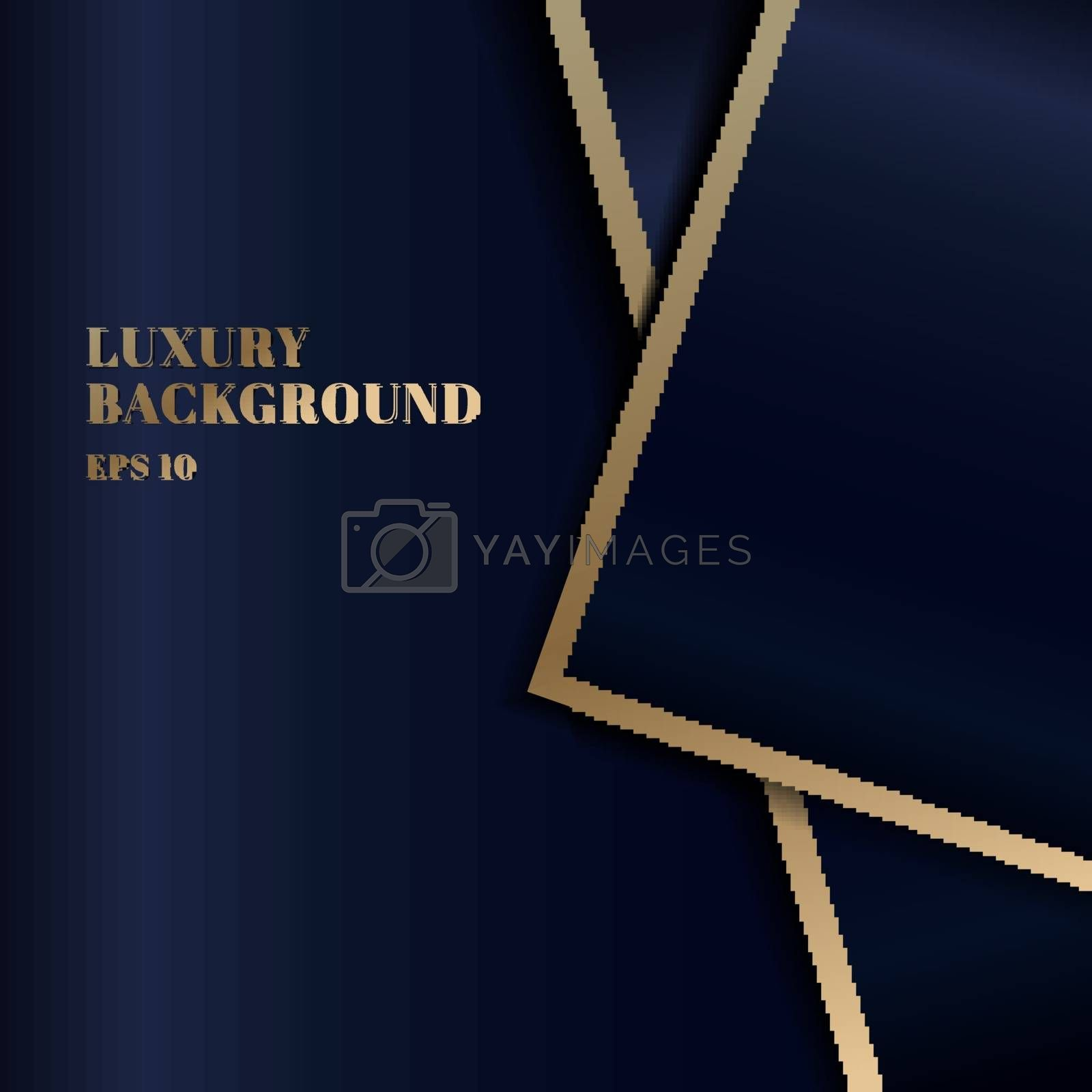 Abstract template dark blue luxury premium background with triangles shape and gold border. Vector illustration