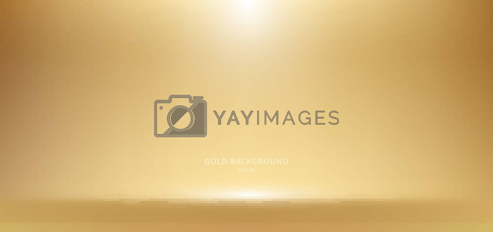 3D empty golden studio room background with spotlight on stage background. Display your product or artwork luxury style. Vector illustration