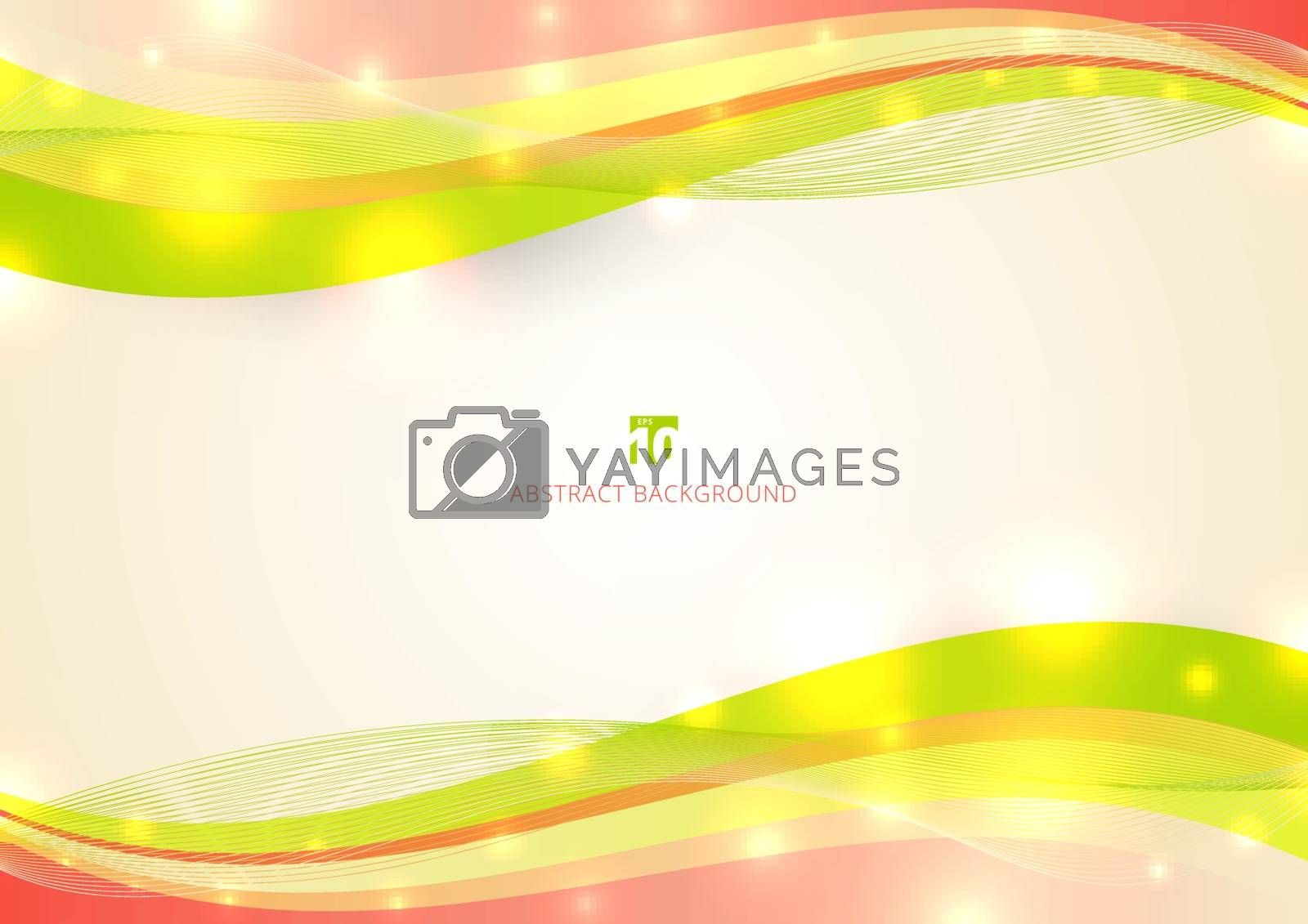 Abstract colorful wave line with light glow on white background space for your text. Vector illustration