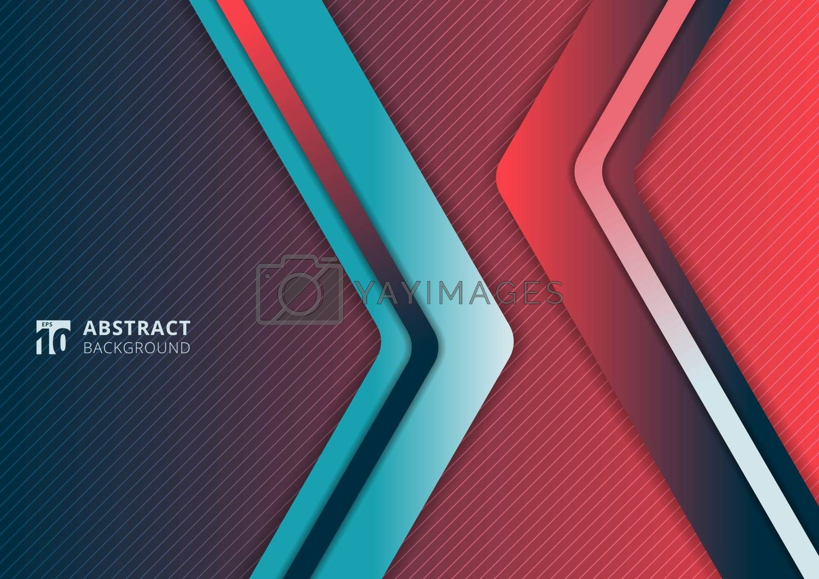 Abstract modern gradient vibrant color triangle geometric overlap layer on pink and blue background technology concept. Arrow shape direction template for cover brochure, poster, banner web, flyer, presentation, etc. Vector illustration