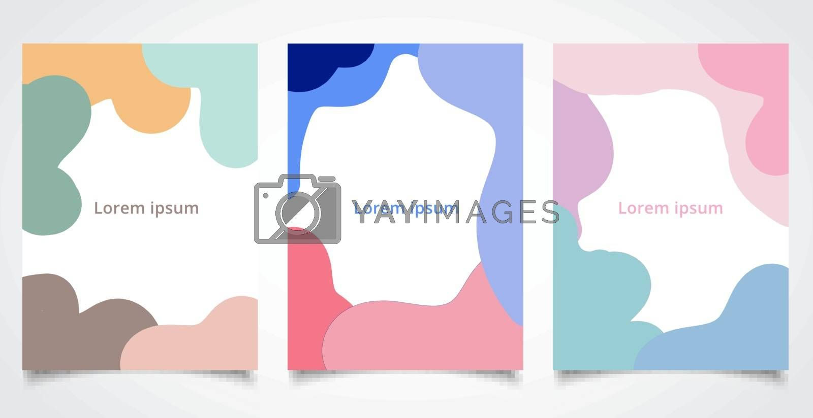 Set of brochure template abstract fluid shape and fun colors pattern background texture. Vector illustration