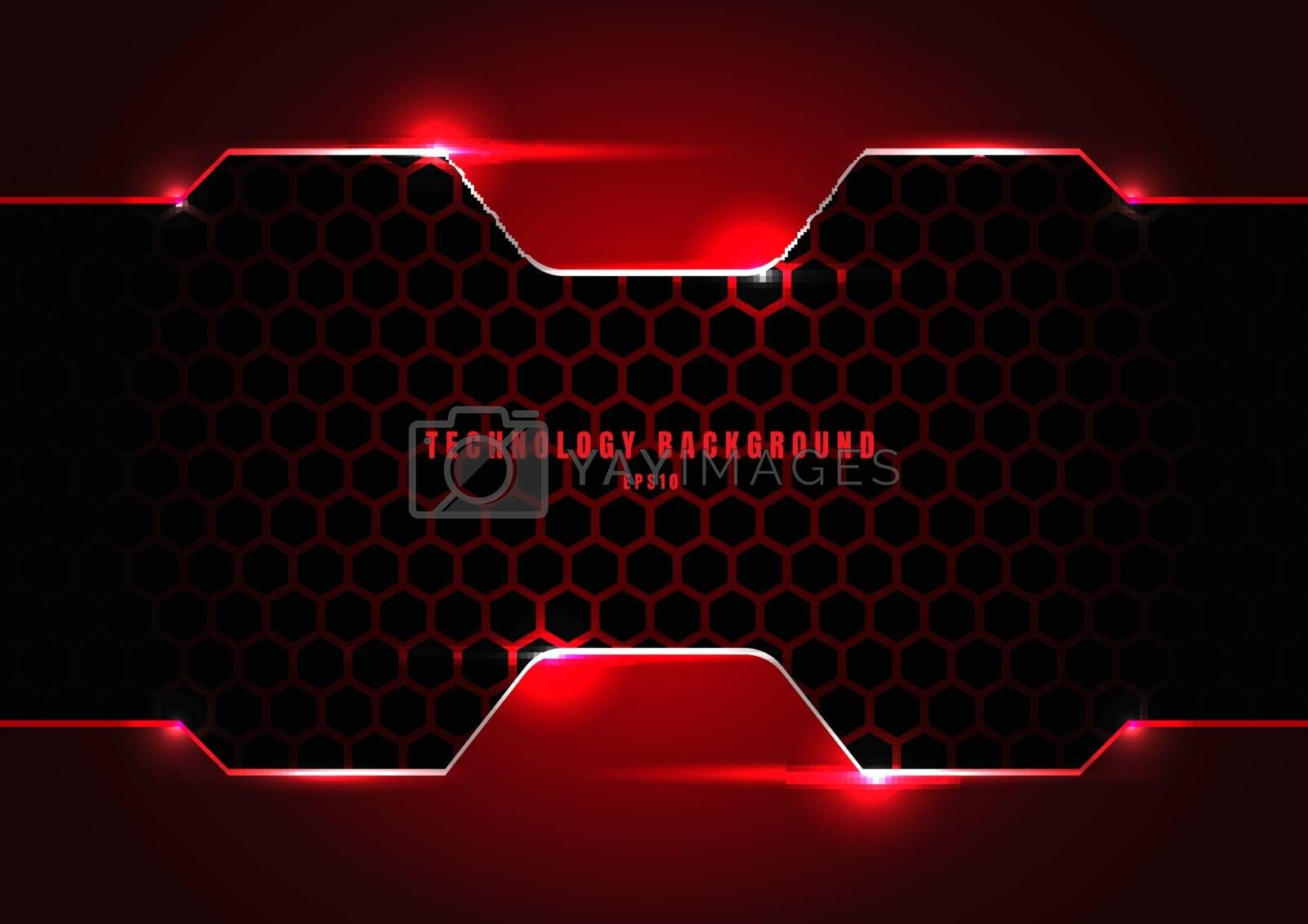 Abstract black and red metallic frame with lighting on hexagons texture pattern technology innovation concept background. Vector illustration