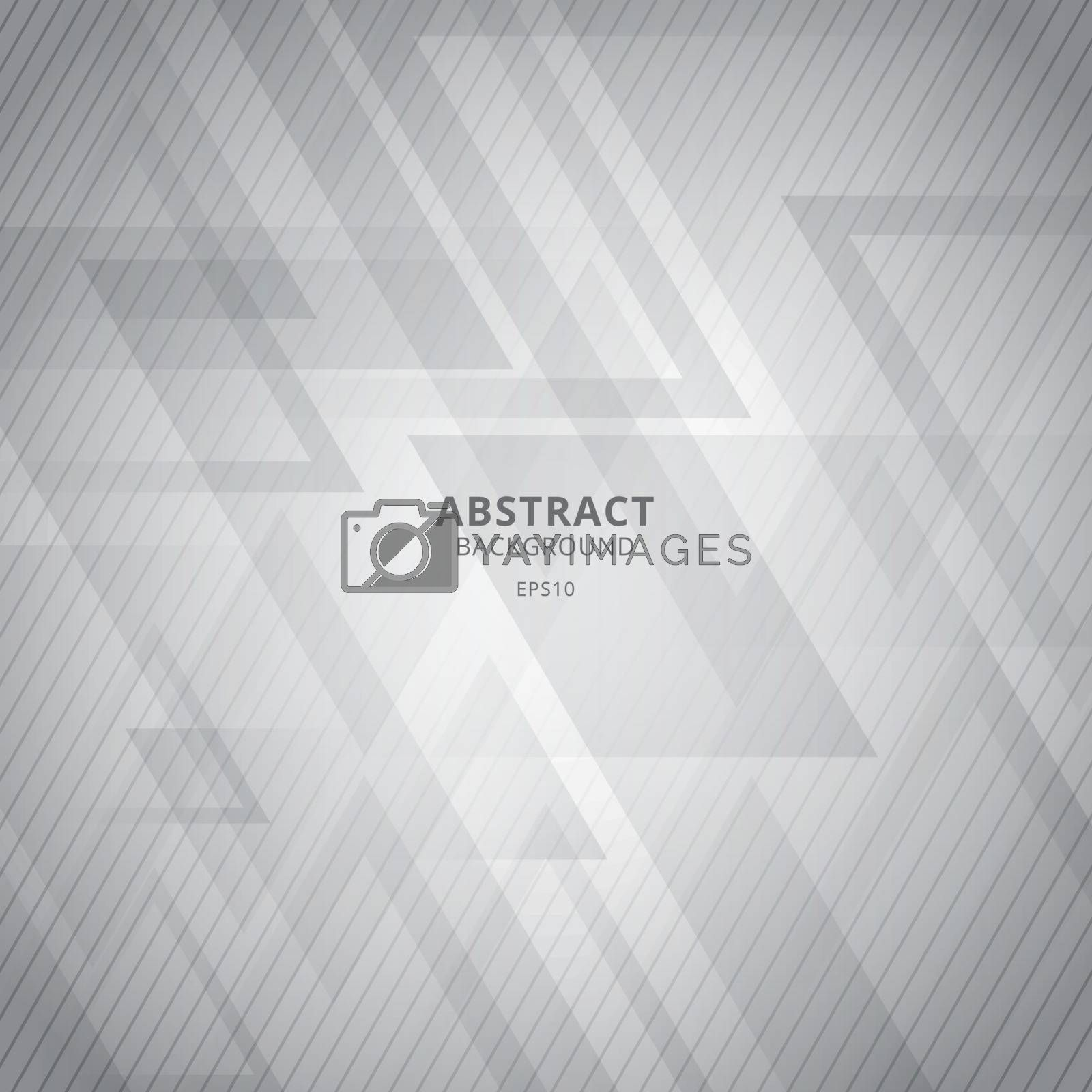 Abstract white and gray geometric triangles overlap background with diagonal lines pattern. Vector illustration
