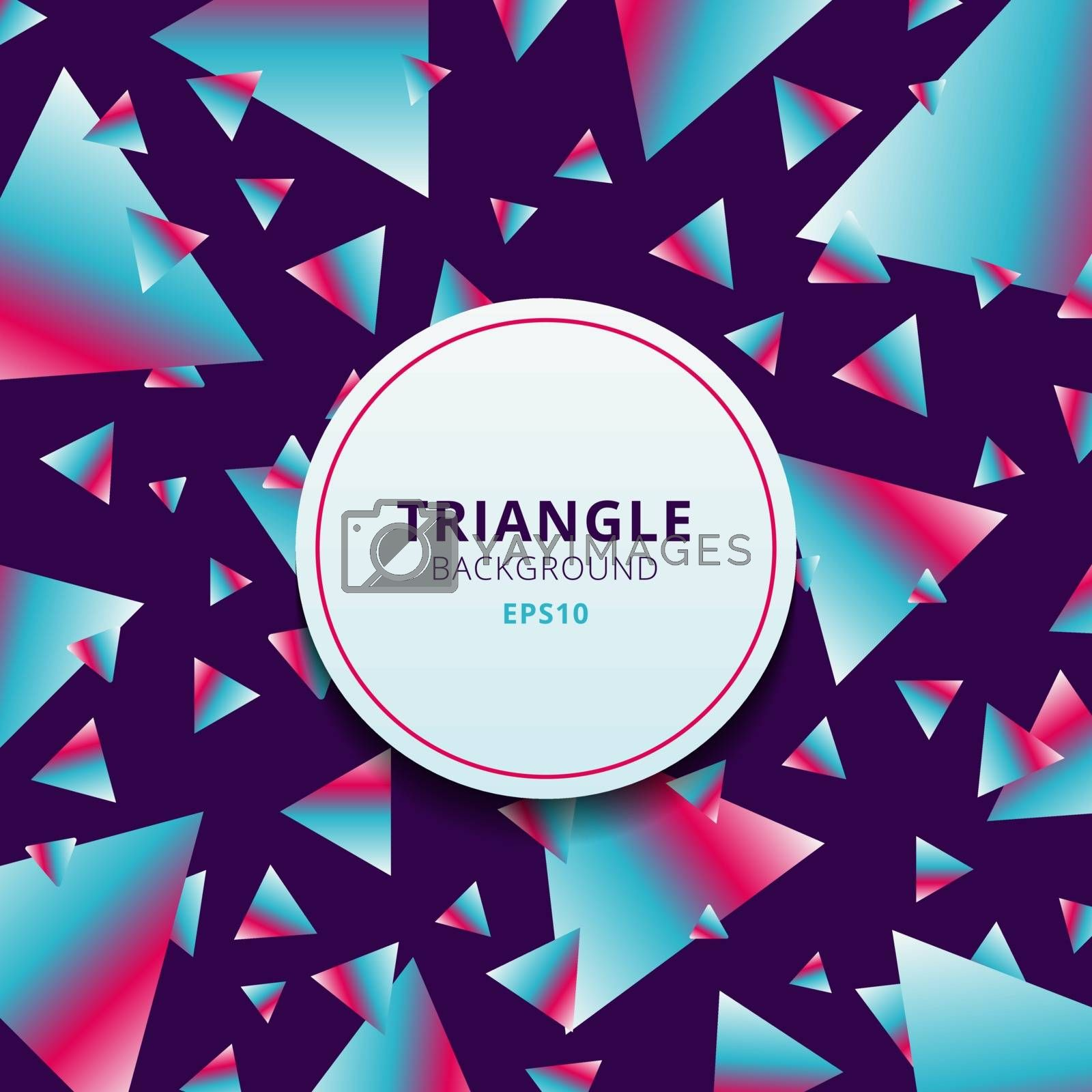 Abstract pattern geometric triangles vibrant color on purple background. Vector illustration