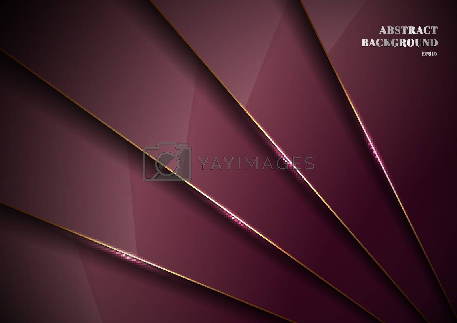 Elegant red metallic glossy background overlapping layer with shadow with gold line luxury style. You can use for template brochure design. poster, banner web, flyer, etc. Vector illustration